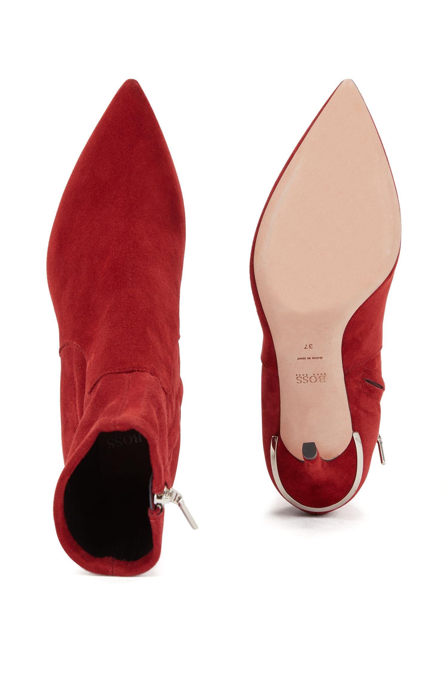 Stivaletti a calza in pelle scamosciata elasticizzata realizzata in Italia, Rosso scuro