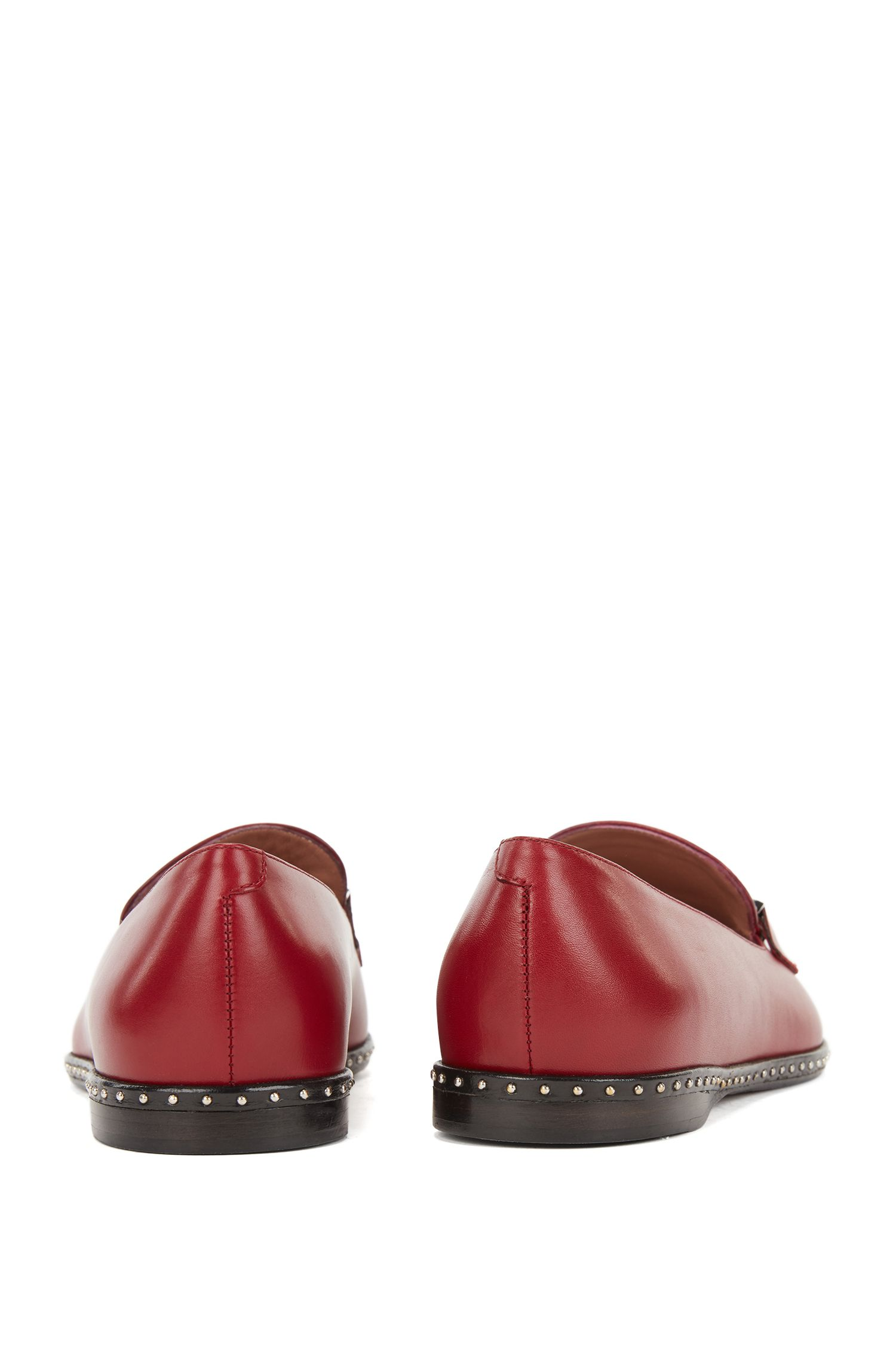 Loafers in Italian calf leather with stud detailing, Dark Red