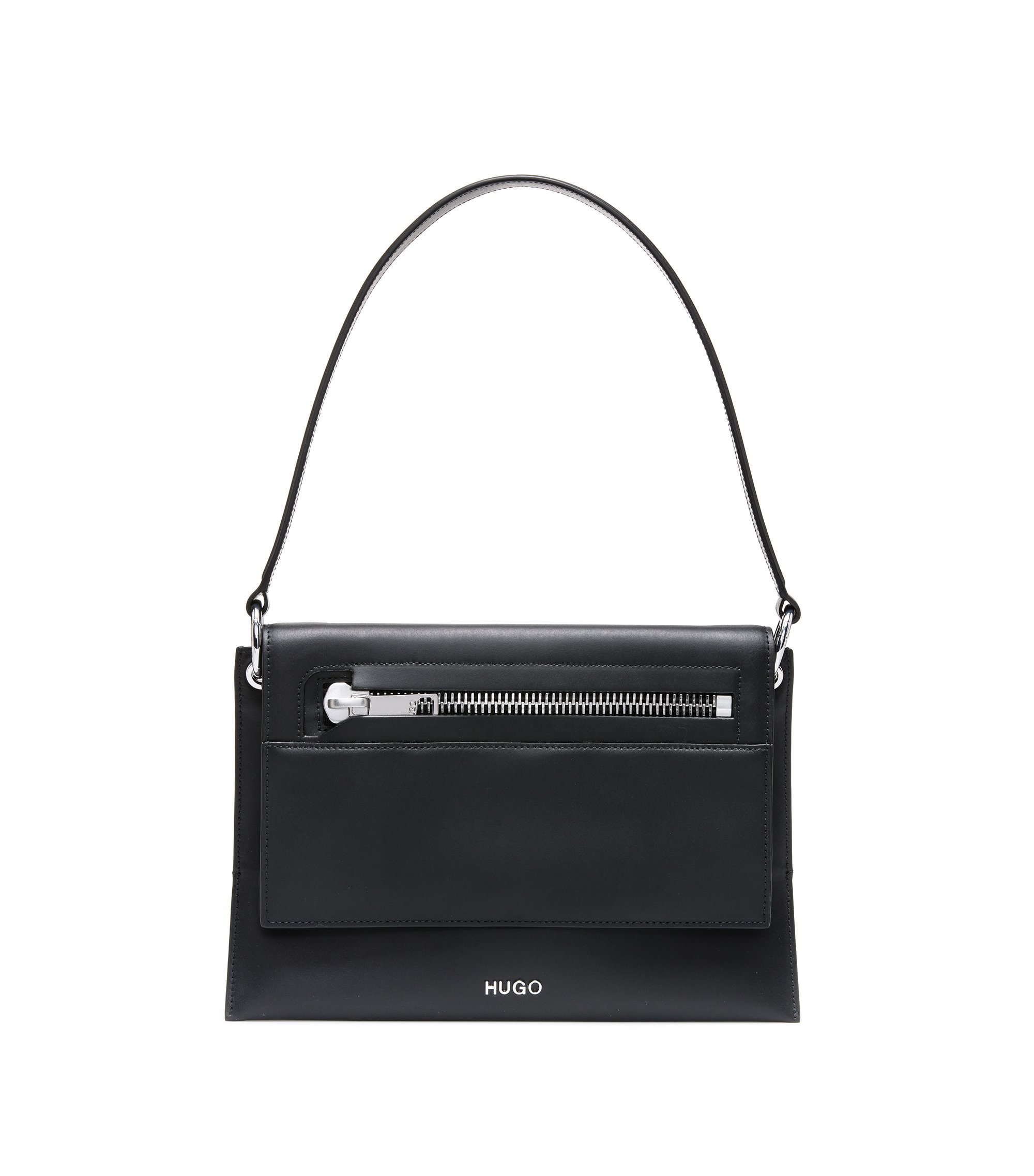 Shoulder bag in matt leather with zip detail, Black
