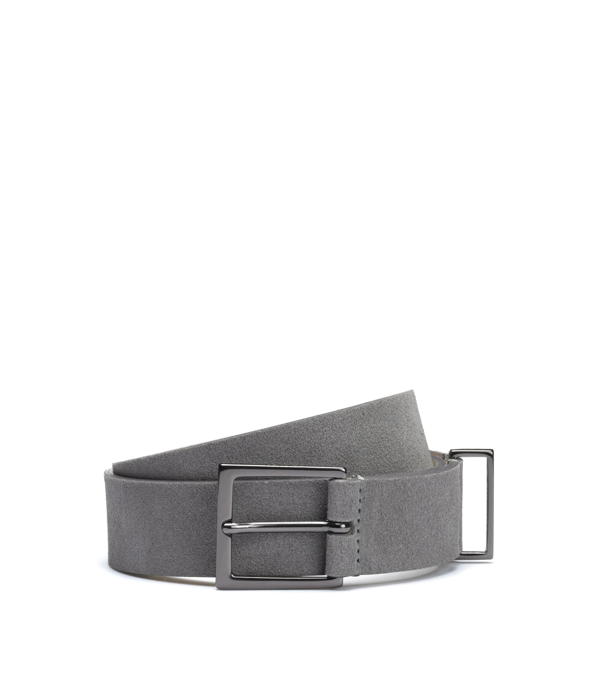 Italian suede belt with gunmetal hardware, Dark Grey