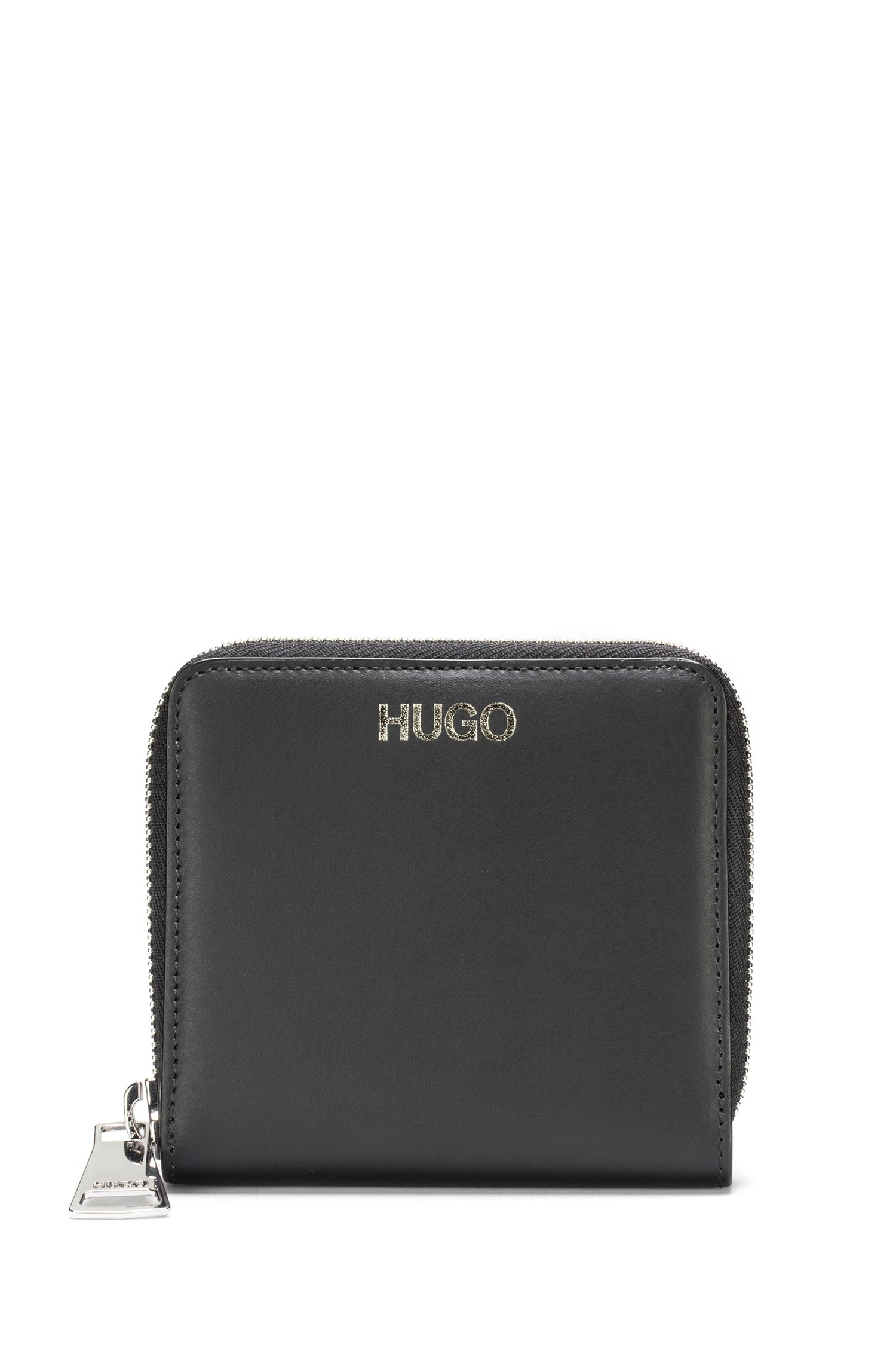 Zip-around wallet in smooth Italian leather, Black