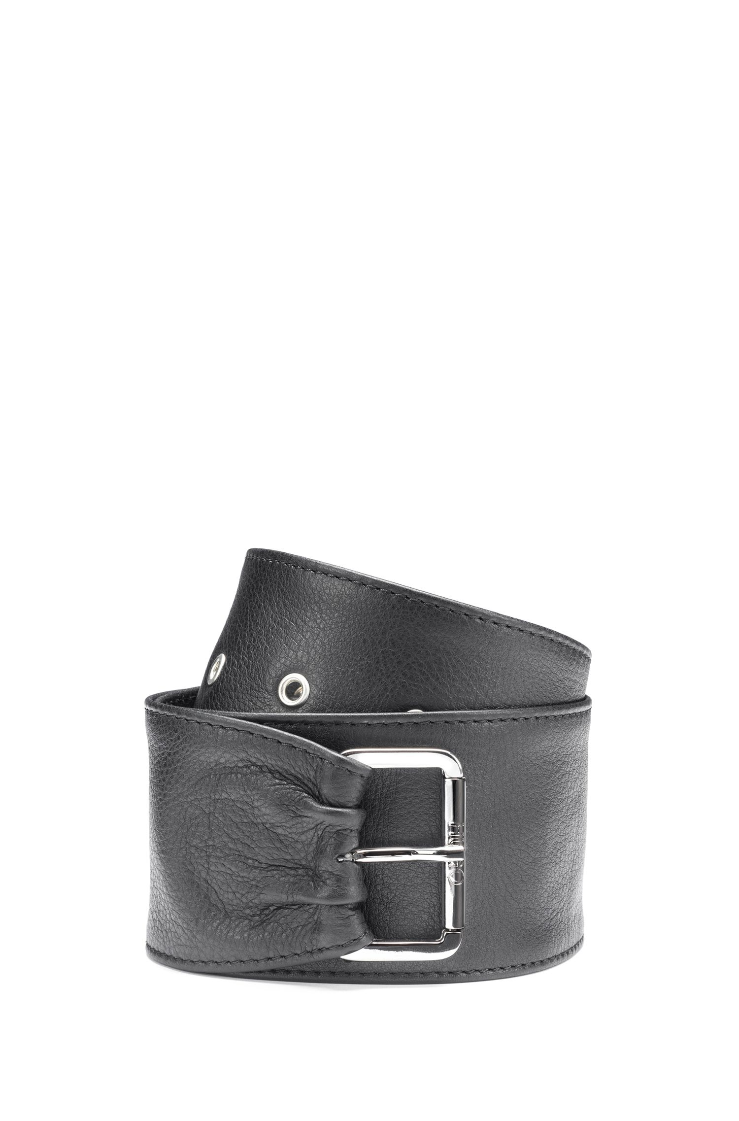Wide belt in nappa leather with asymmetric end, Black