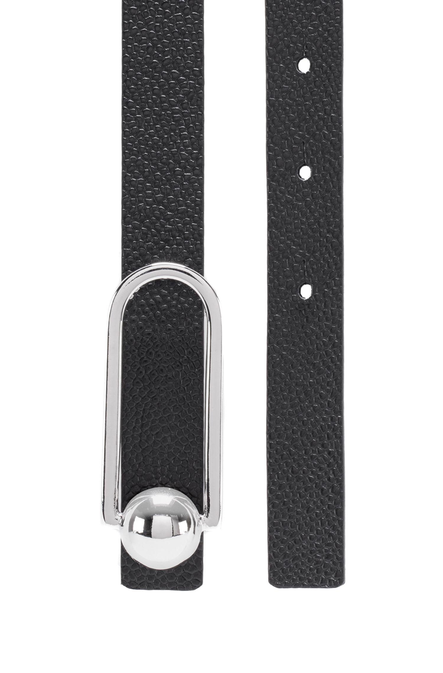 Printed Italian-leather belt with signature hardware, Black