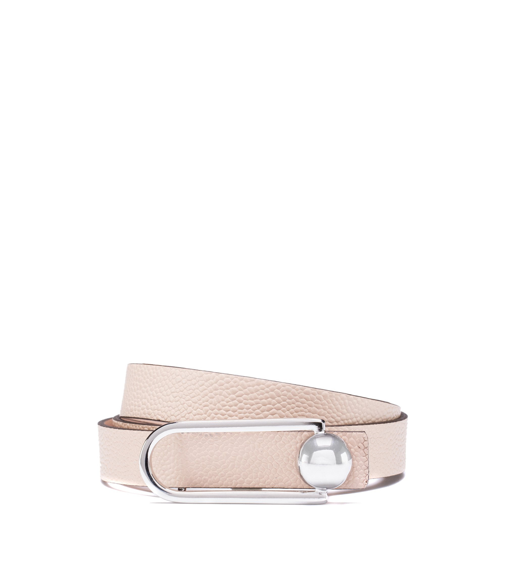 Printed Italian-leather belt with signature hardware, Light Beige