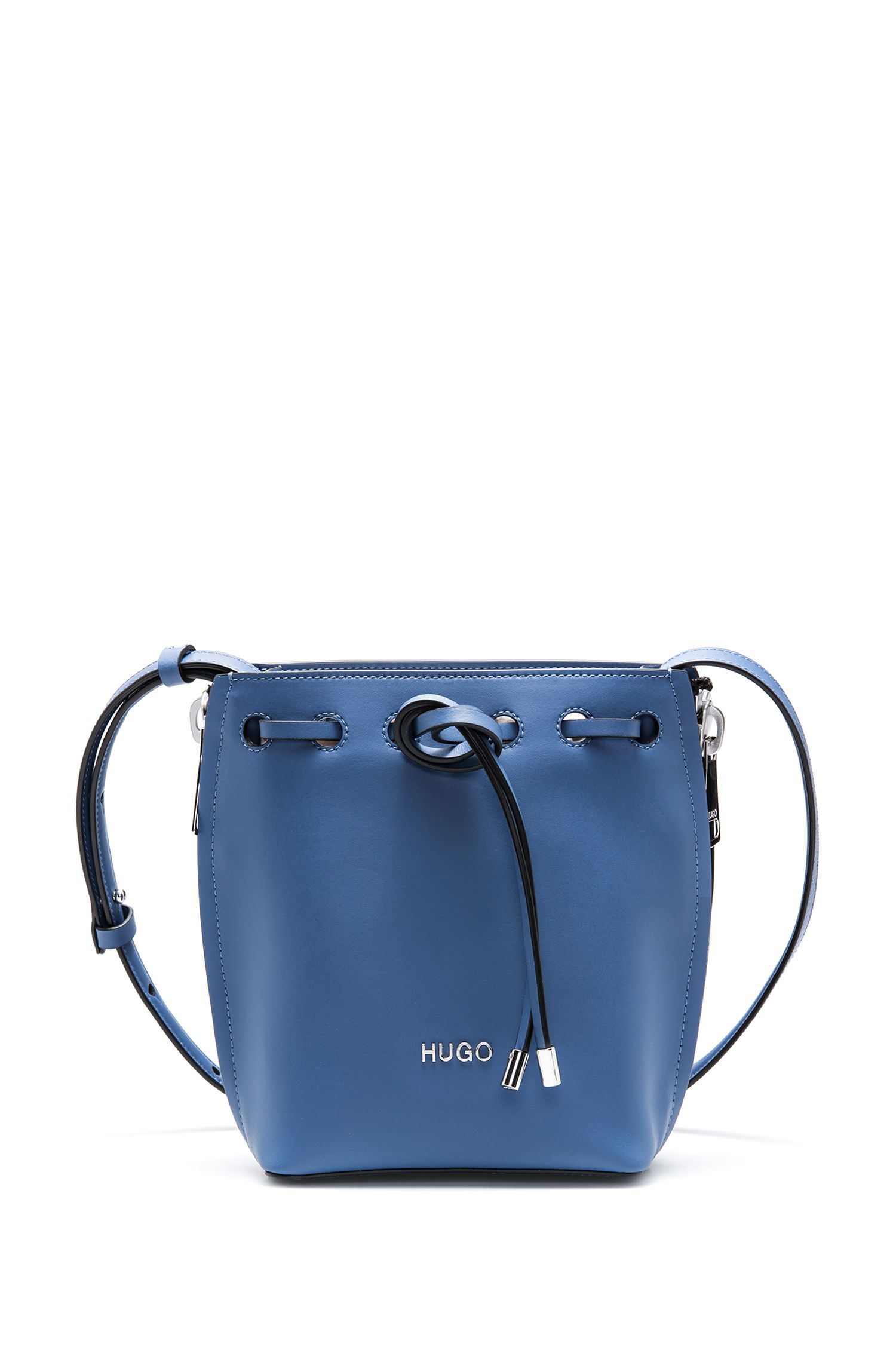 Drawstring bucket bag in Italian leather with zip details, Blue