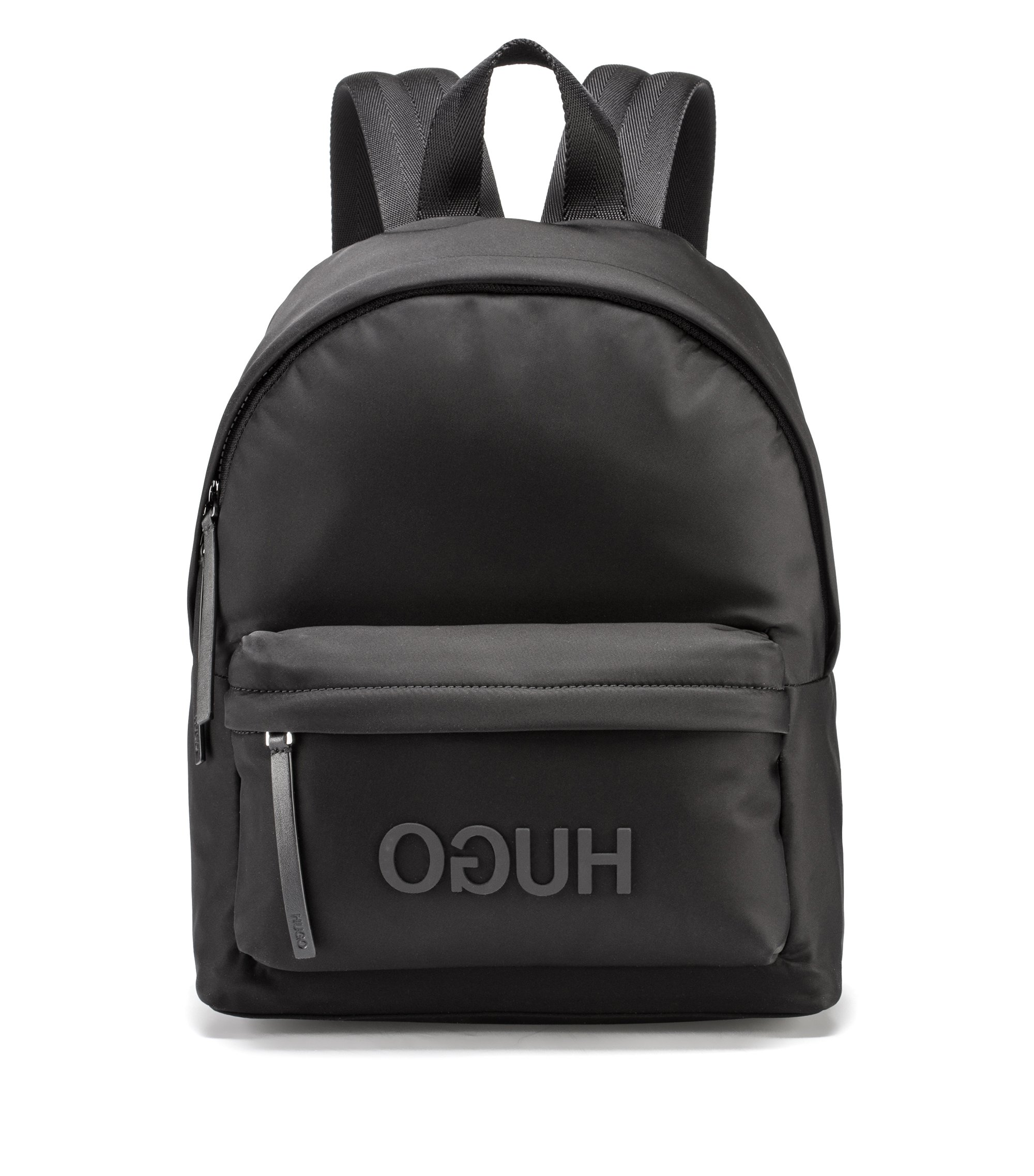 Gabardine backpack with tonal reverse logo, Nero