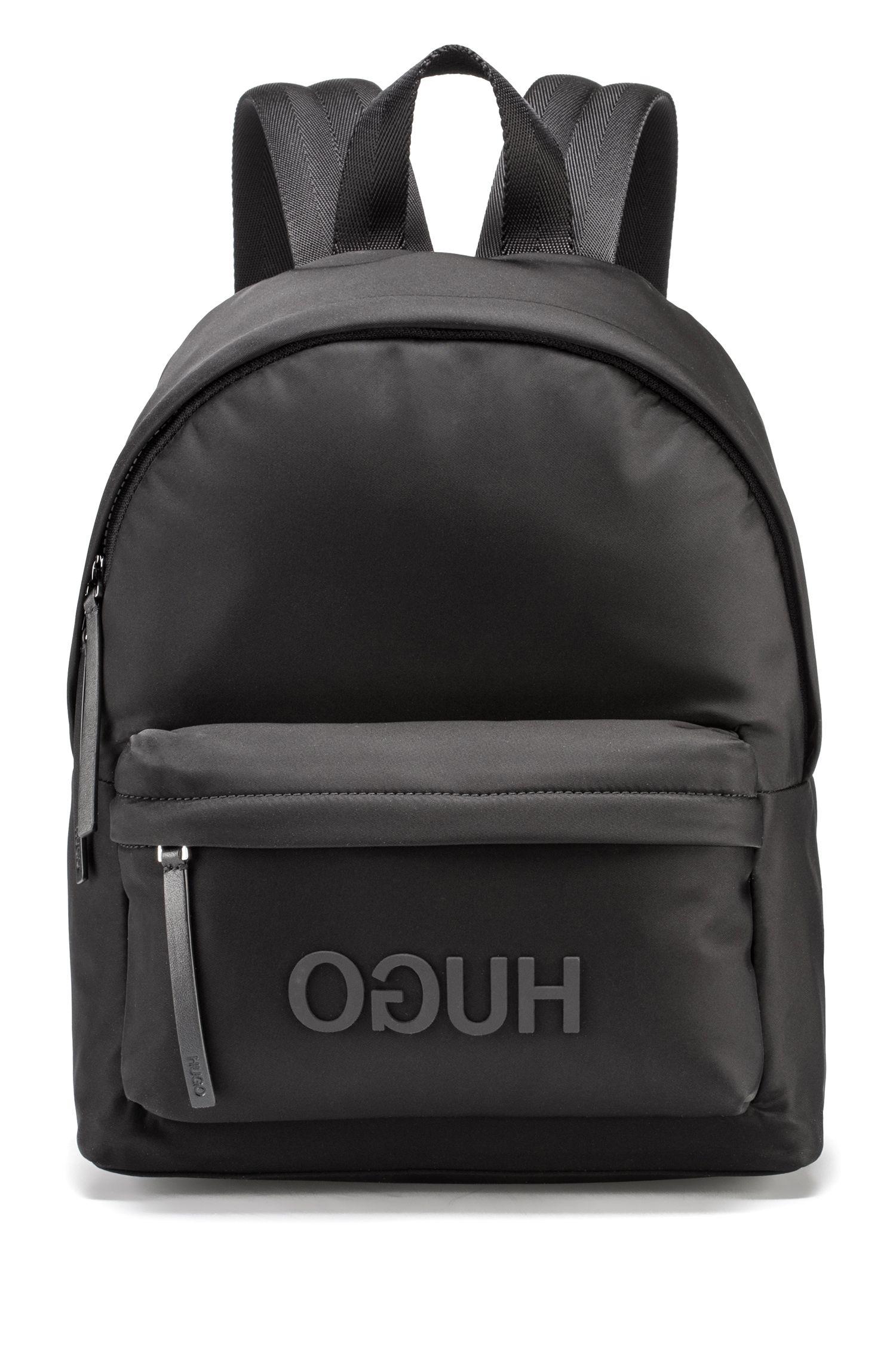 Rucksack aus Nylon-Gabardine mit tonalem Reversed-Logo, Schwarz