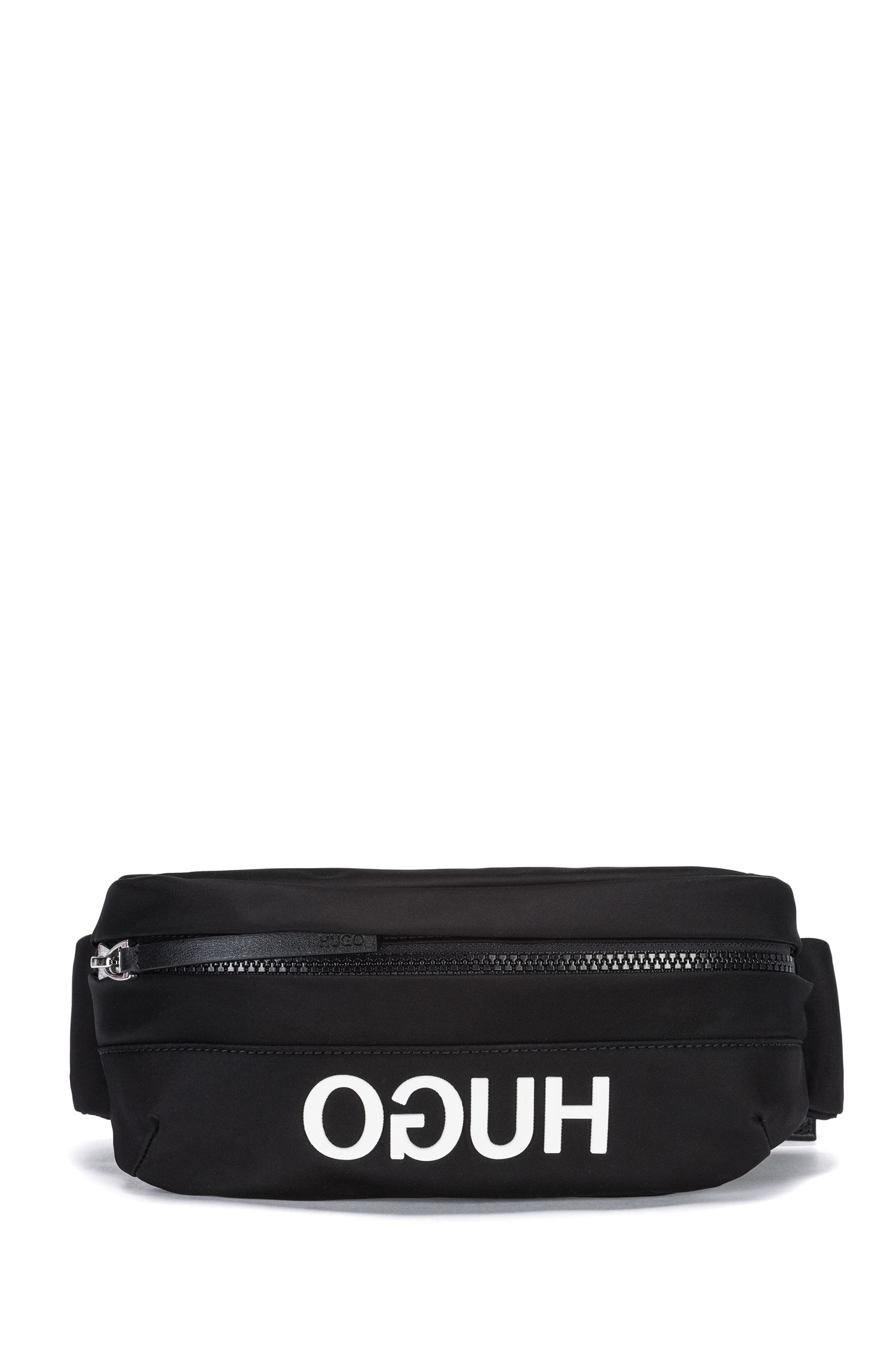 Nylon-gabardine belt bag with reverse logo, Black