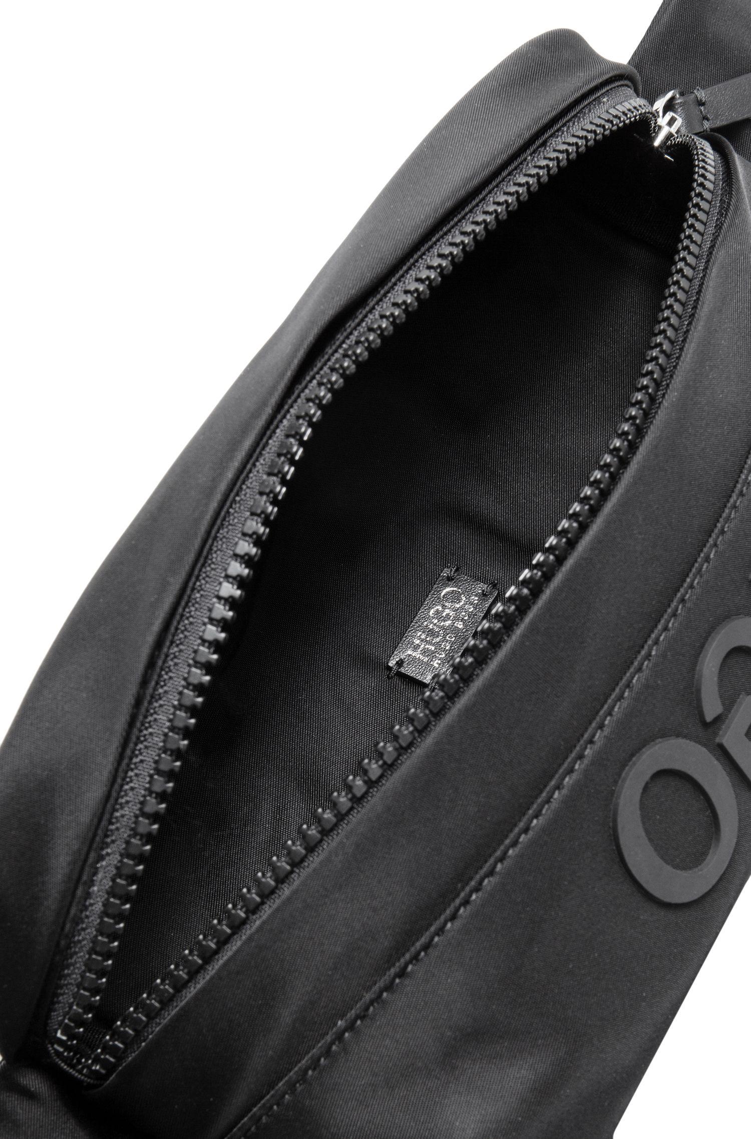 Sac ceinture en gabardine de tissu technique à logo inversé, Noir