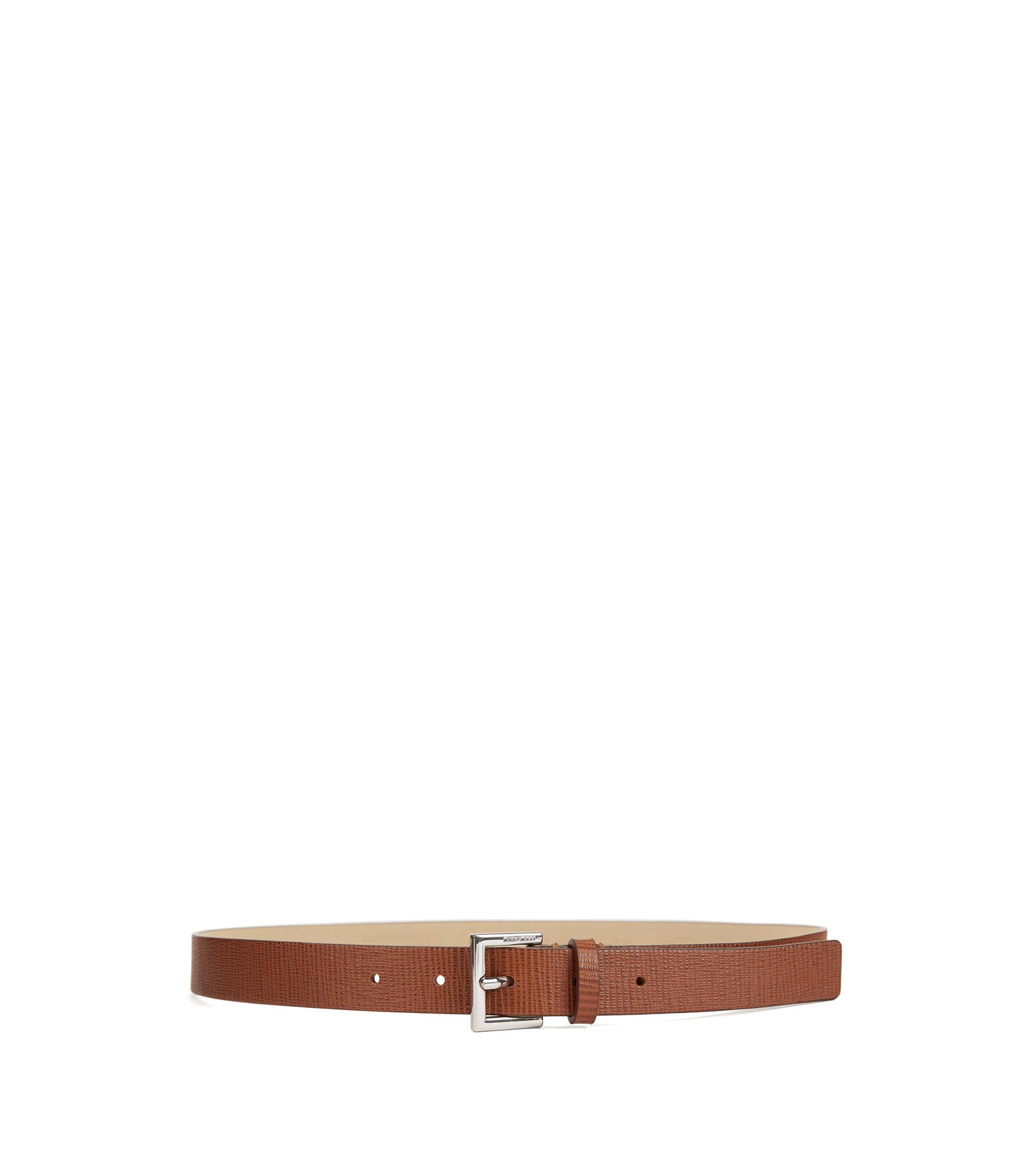 Slim belt in embossed Italian calf leather, Brown