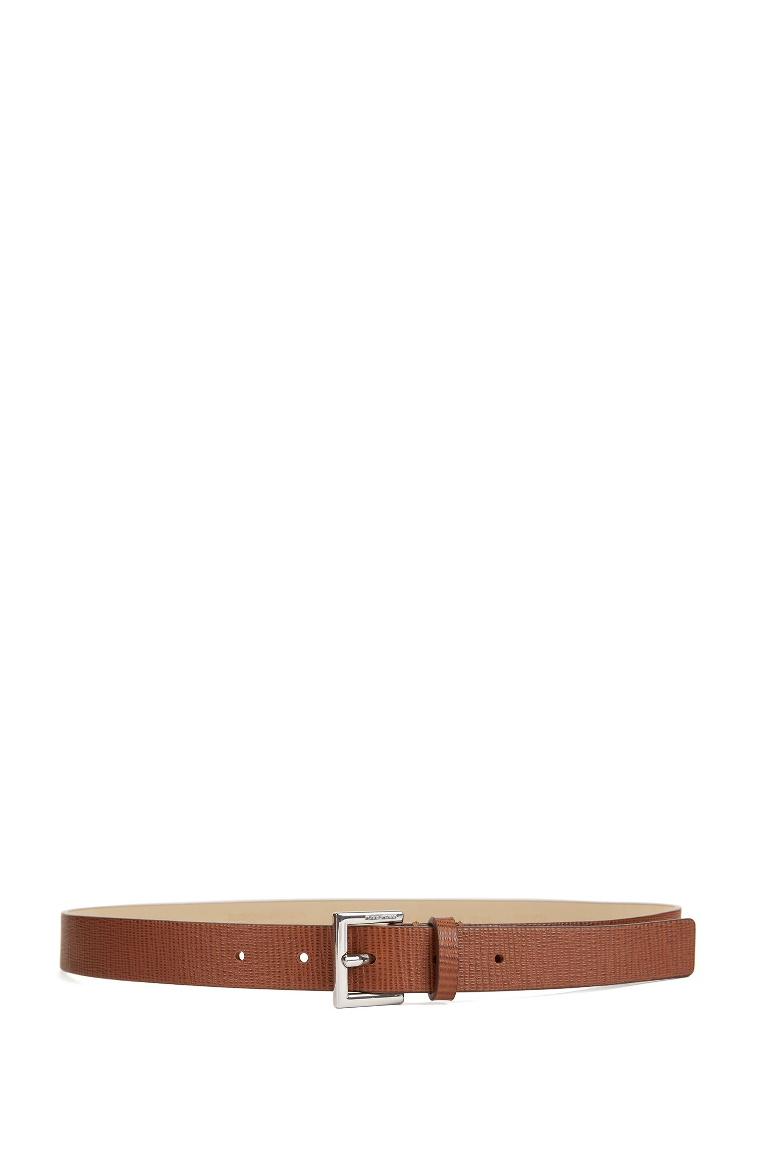 Schmaler Gürtel aus geprägtem italienischem Leder, Braun