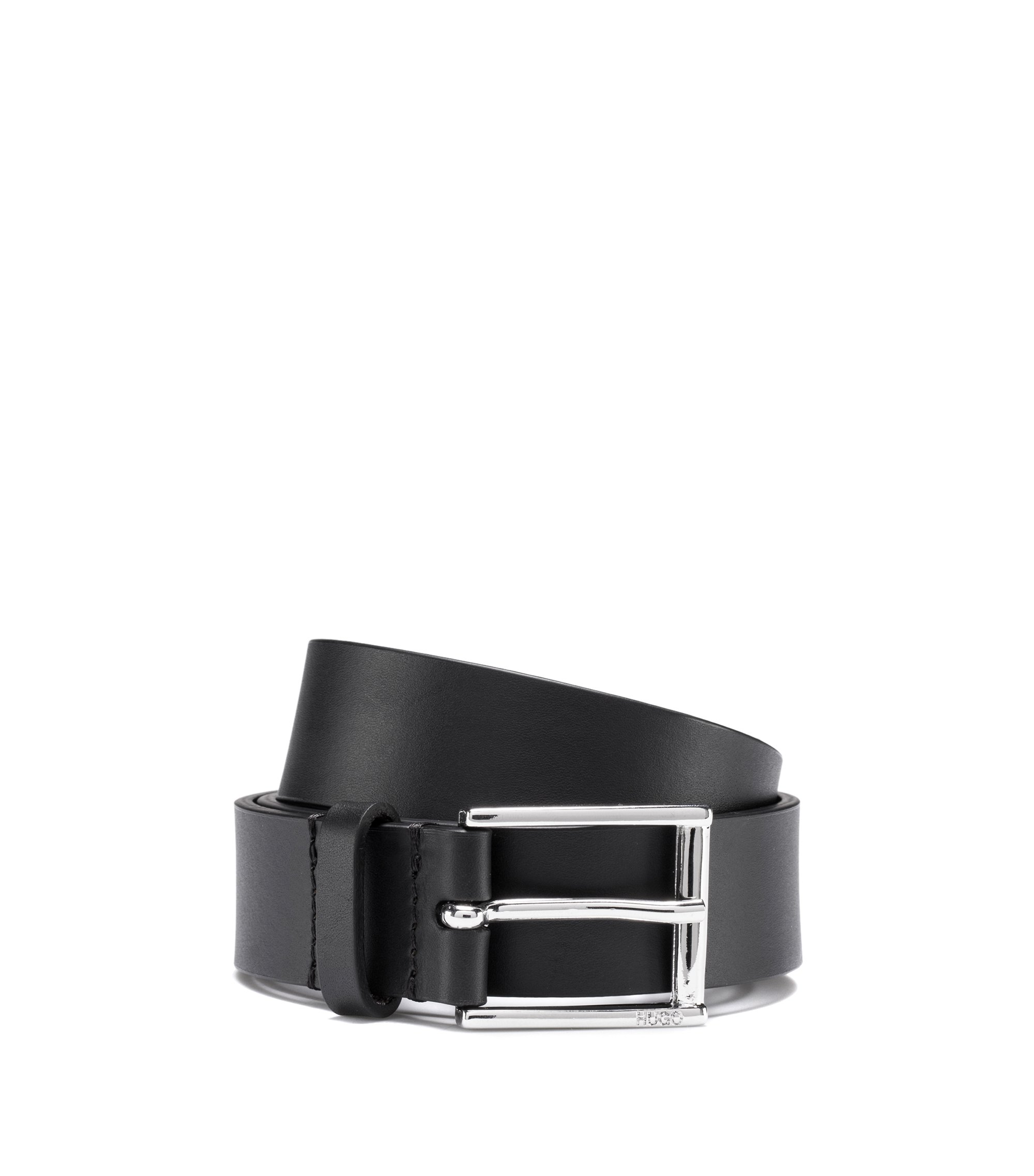 Italian-leather belt with reverse logo, Noir