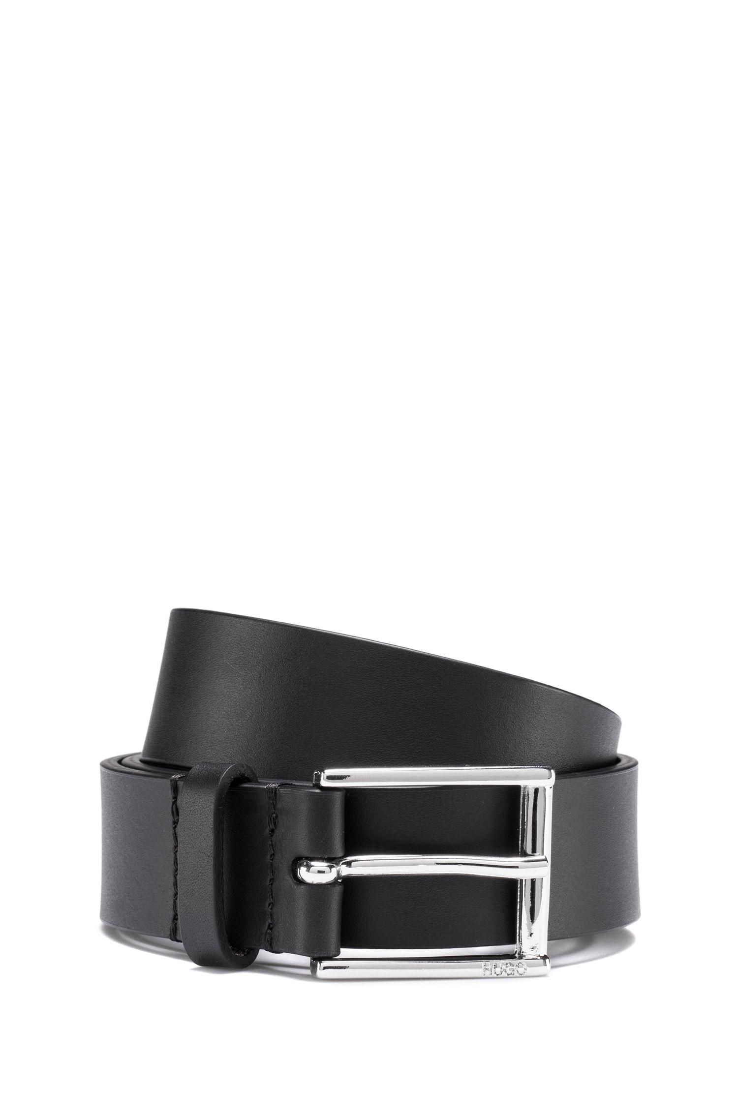 Cinturón de piel italiana con logo invertido, Negro