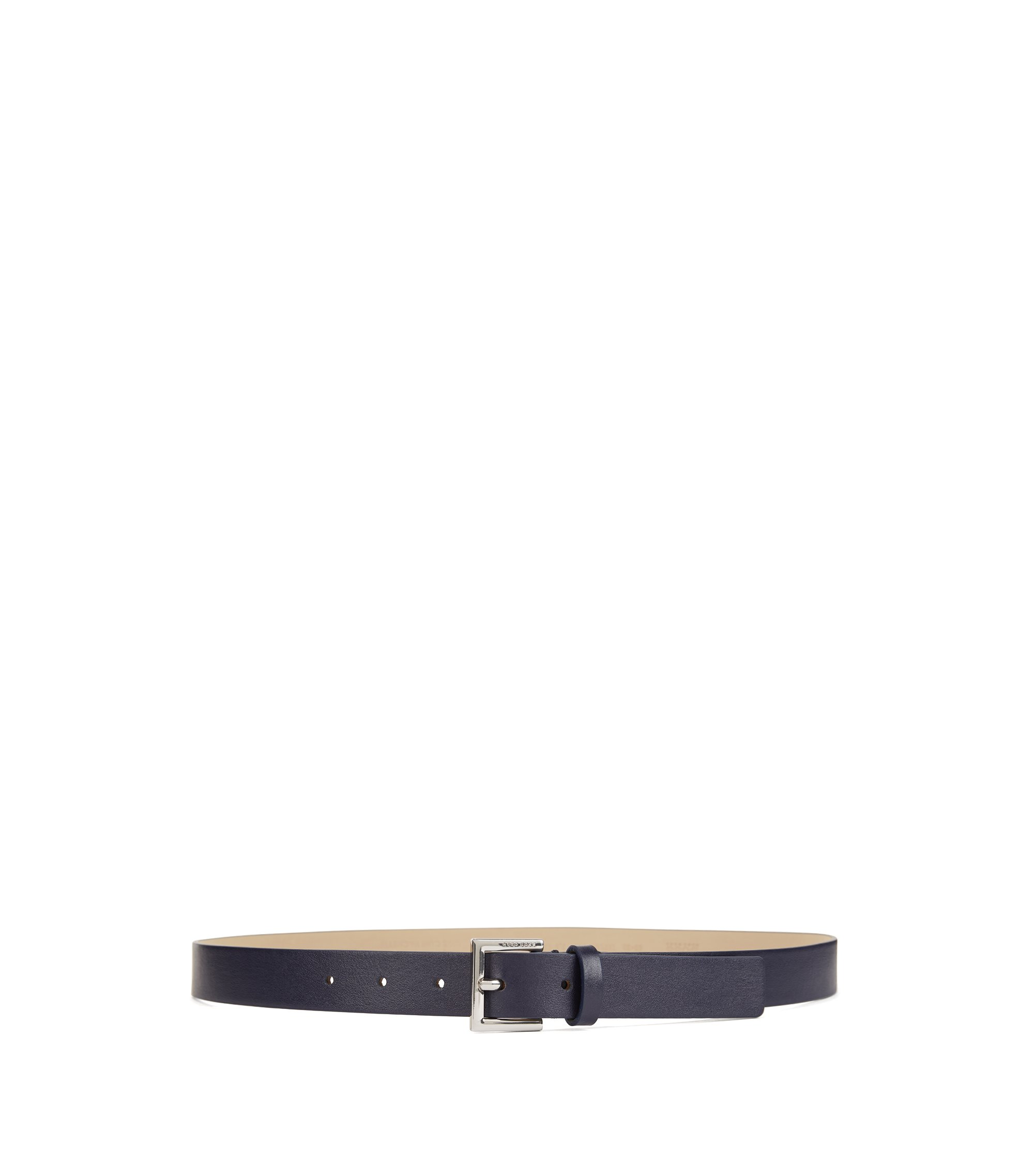 Italian-leather belt with logo-engraved buckle, Blu