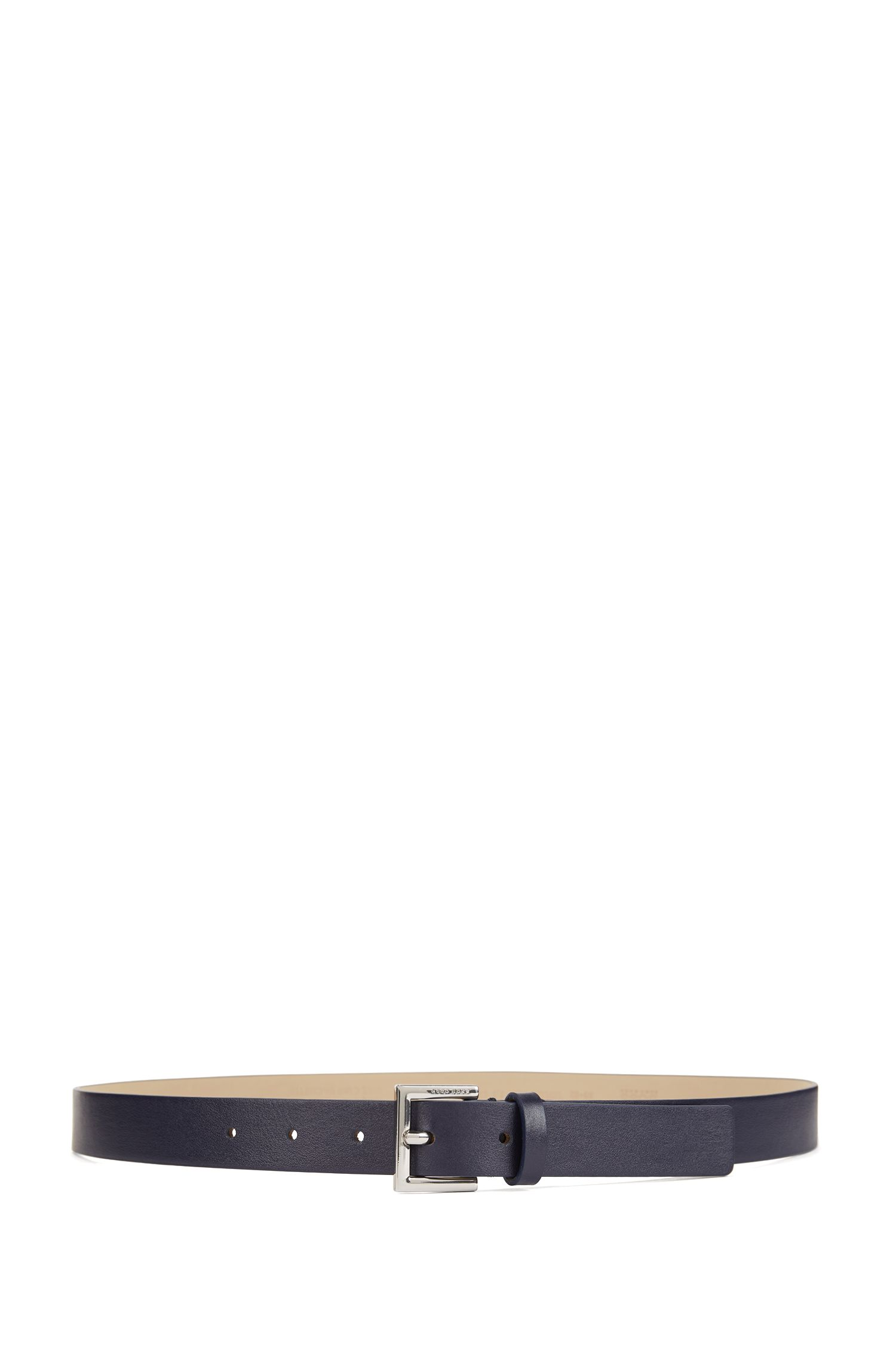 Italian-leather belt with logo-engraved buckle, Blue