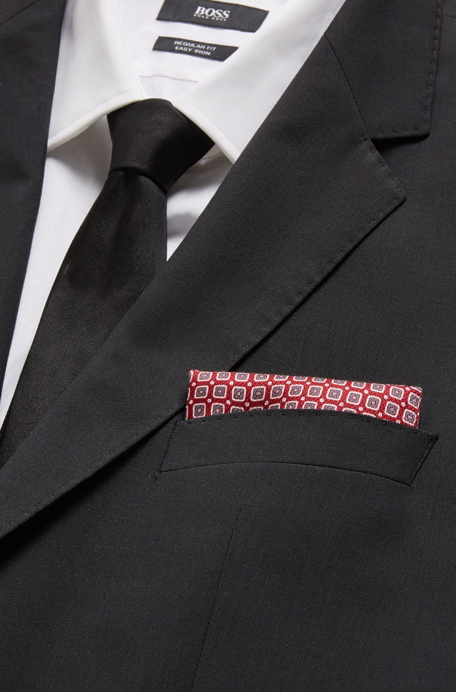 Handmade pocket square in patterned silk