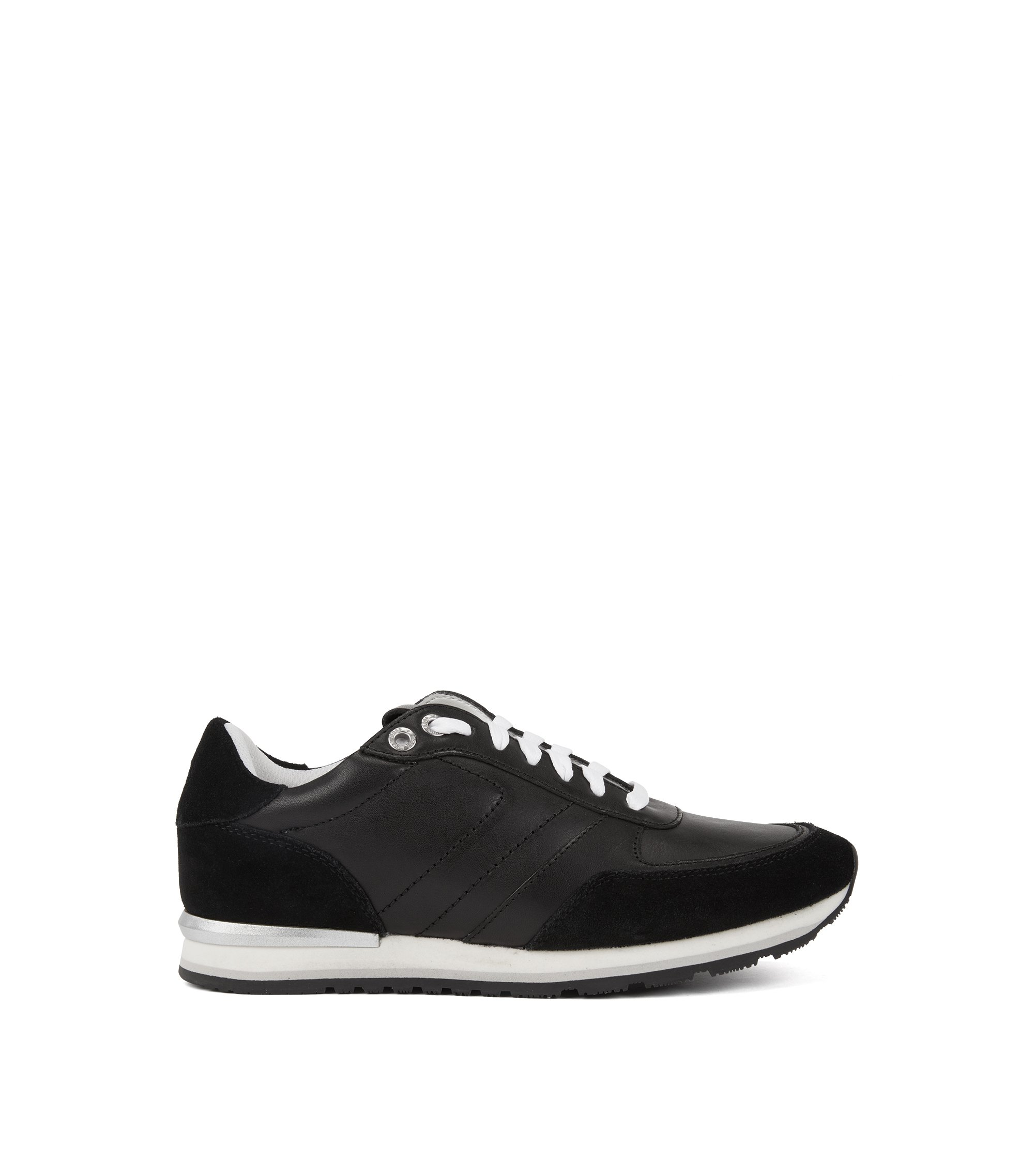 Running-inspired trainers with leather uppers, Black
