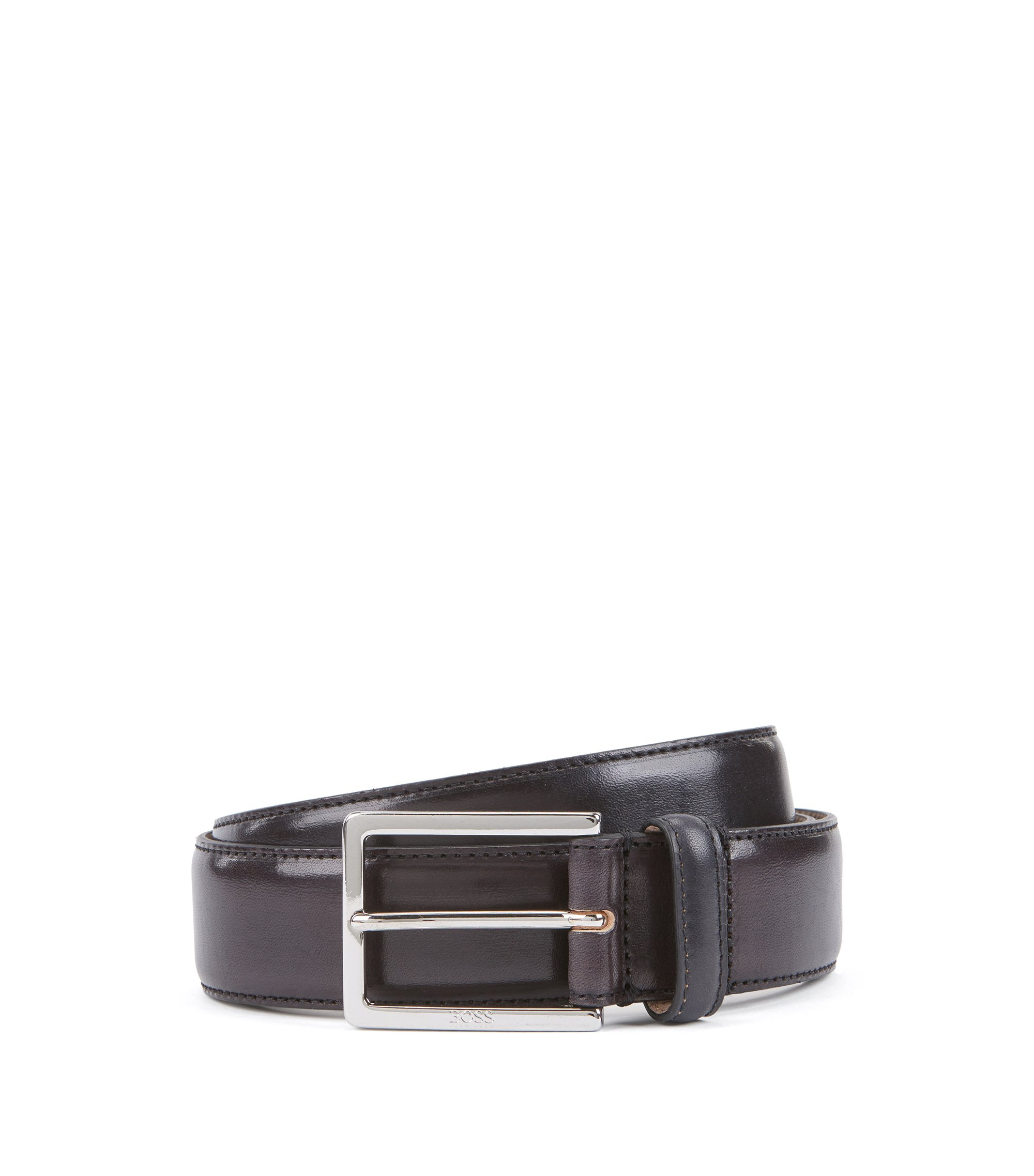 Tailored belt in vegetable-tanned leather with engraved buckle, Black