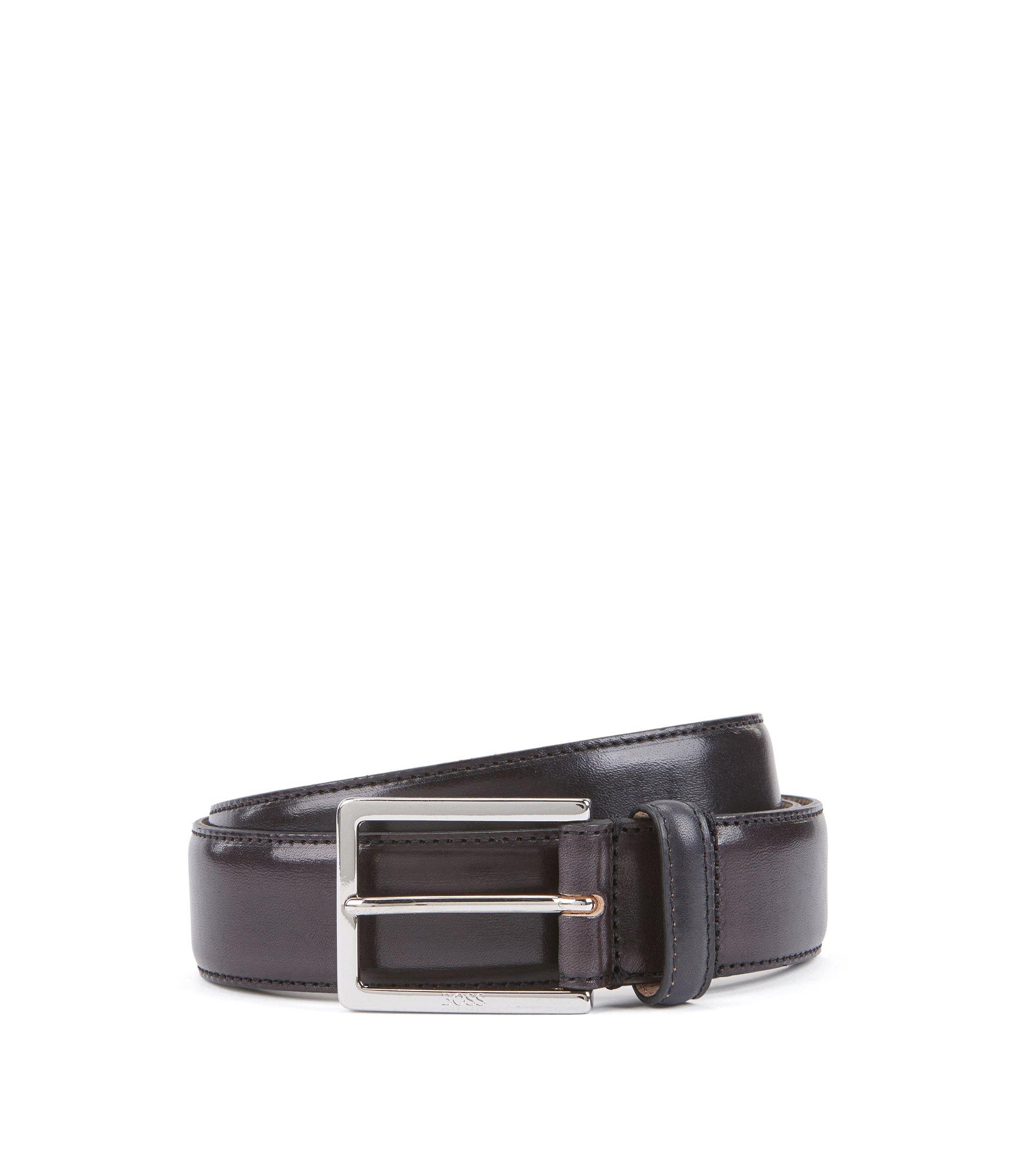 Eleganter Gürtel aus pflanzlich gegerbtem Leder mit gravierter Schließe, Schwarz