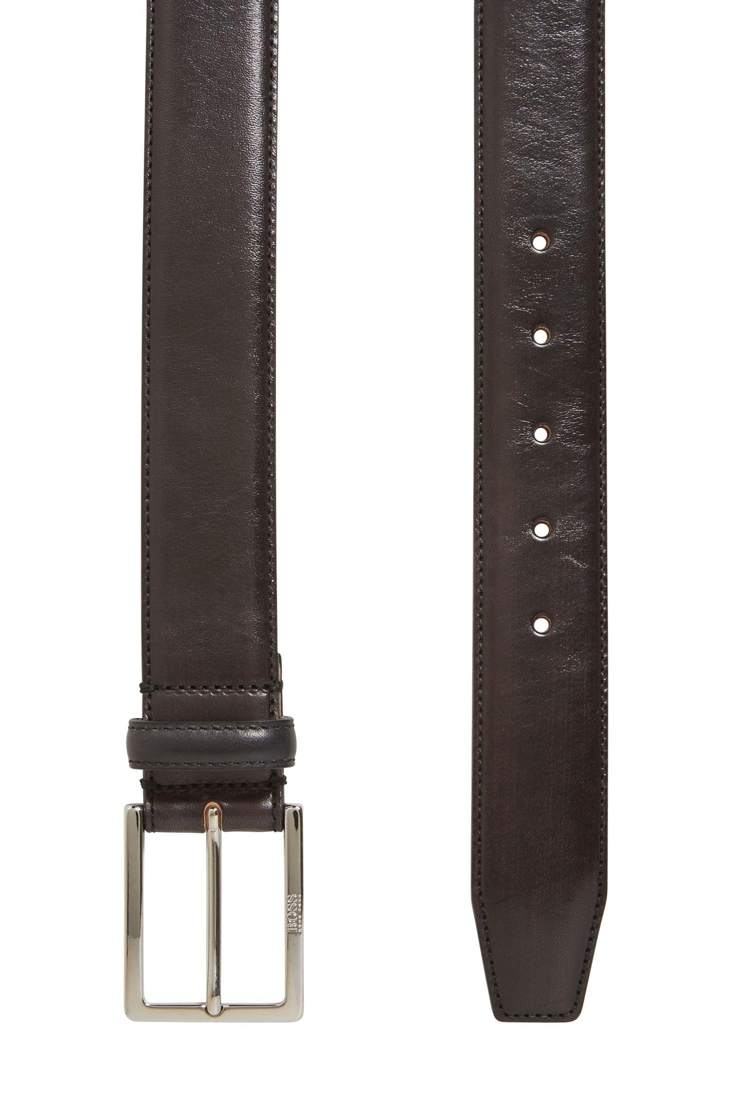 Cinturón de sastrería en piel de curtido vegetal con hebilla grabada, Negro
