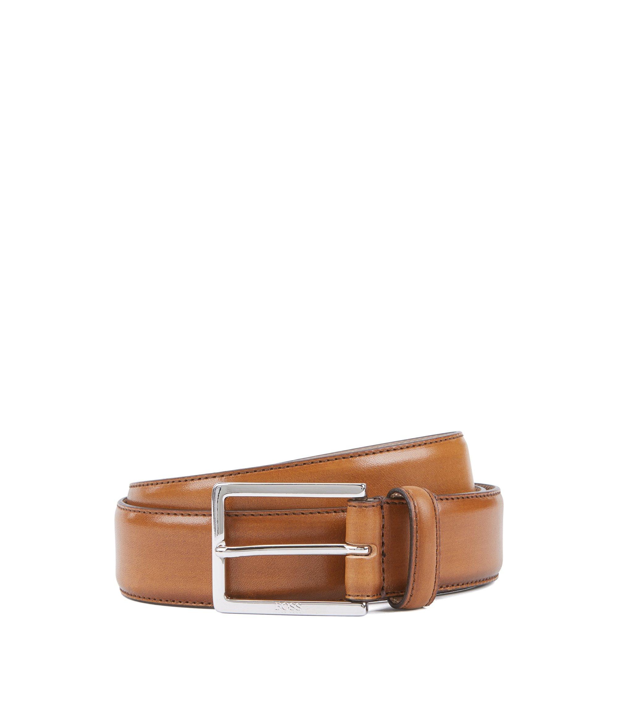 Eleganter Gürtel aus pflanzlich gegerbtem Leder mit gravierter Schließe, Braun