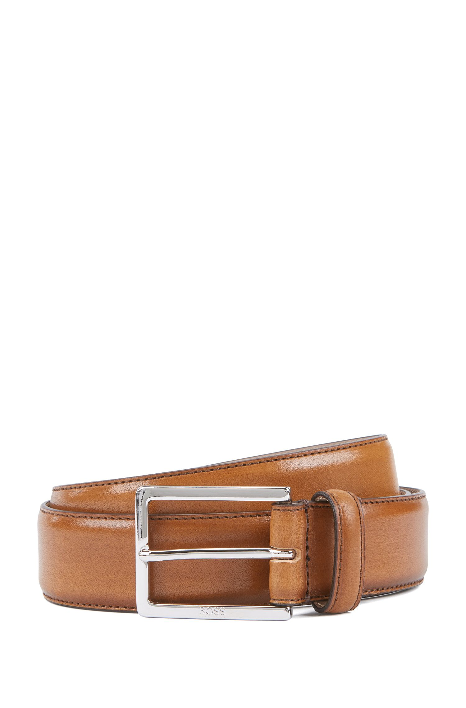 Tailored belt in vegetable-tanned leather with engraved buckle, Brown