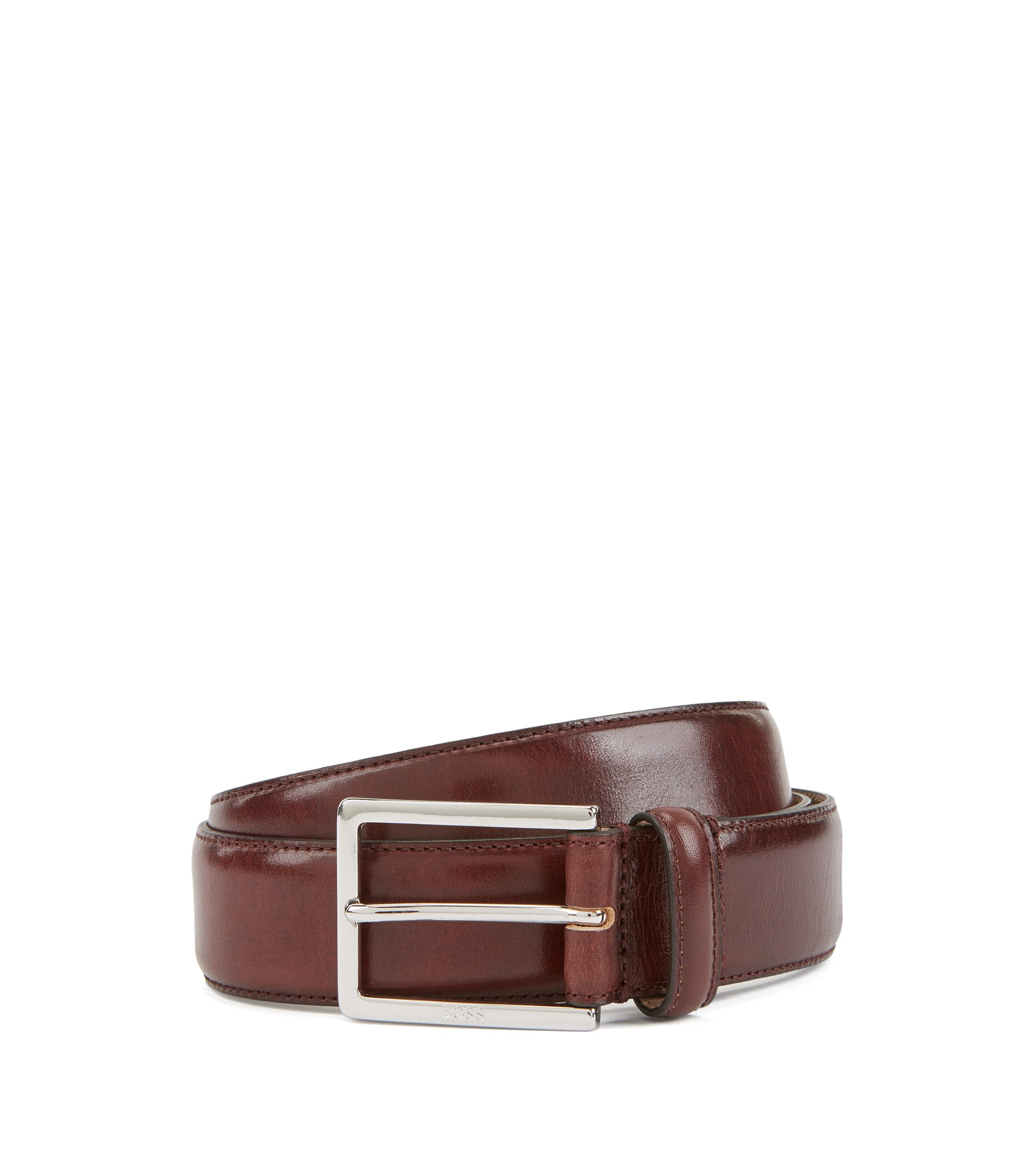 Tailored belt in vegetable-tanned leather with engraved buckle, Dark Red