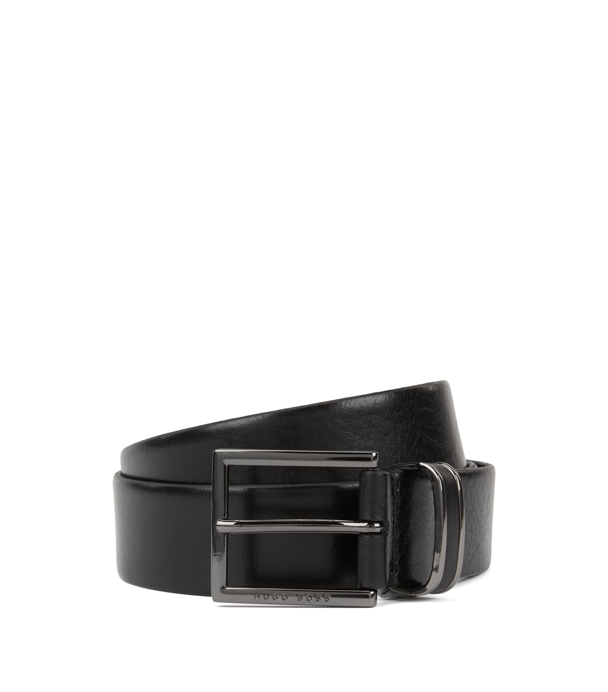 Belt in smooth leather with polished gunmetal keeper, Black