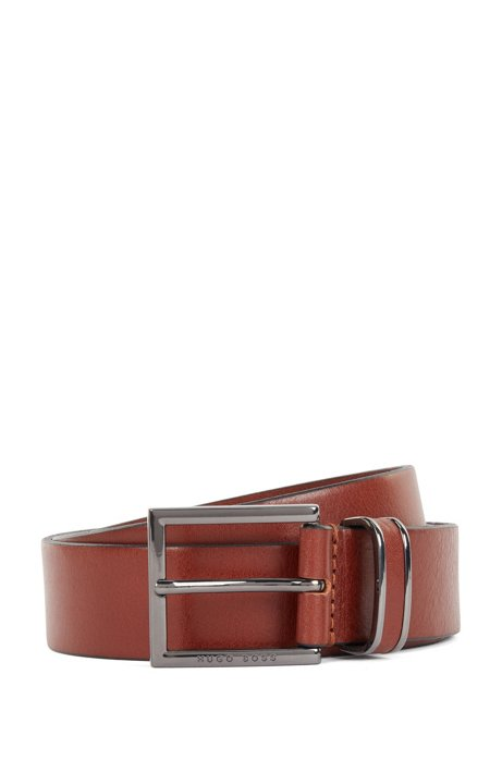 Belt in smooth leather with polished gunmetal keeper, Brown