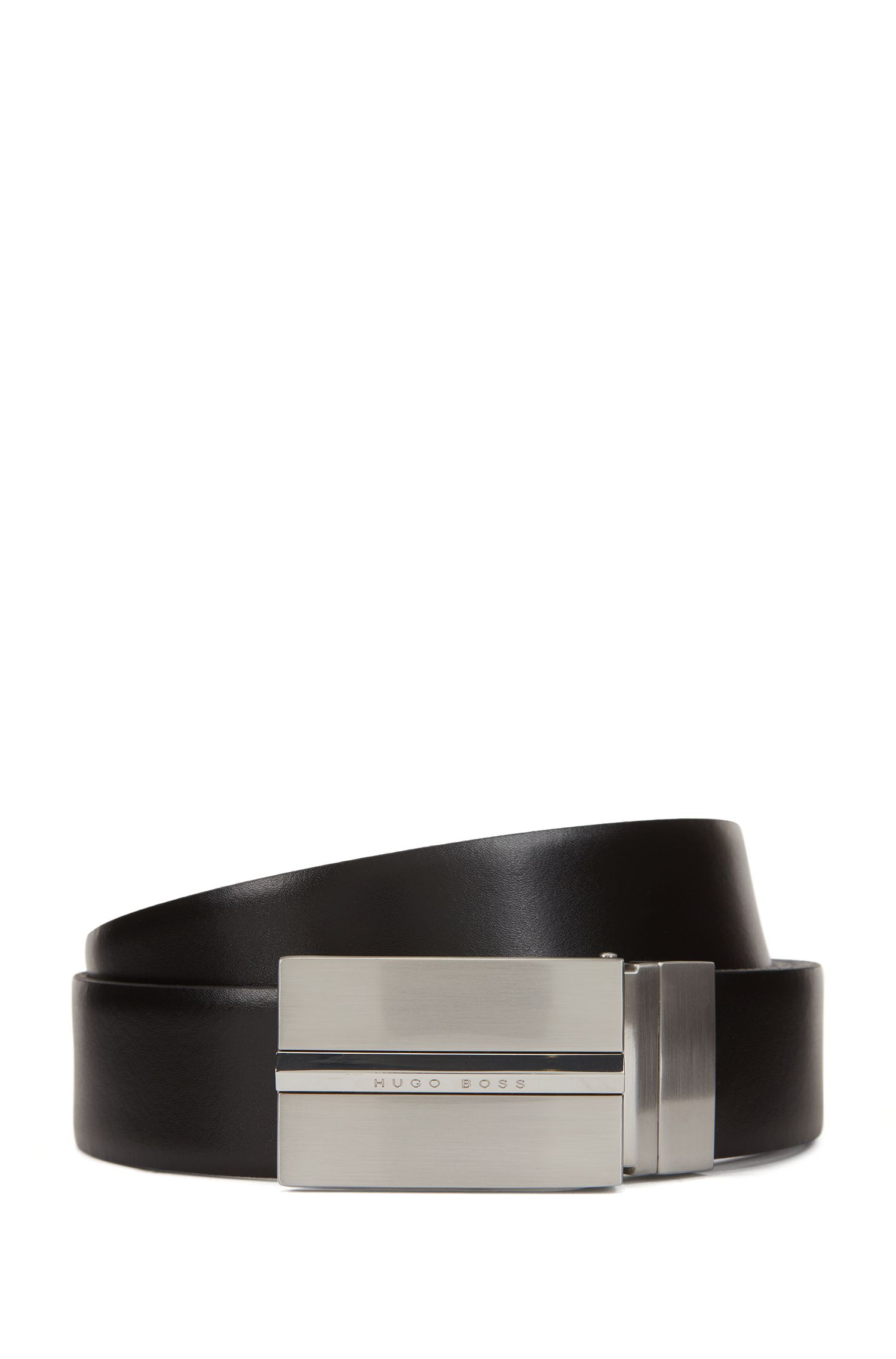 Reversible two-tone leather belt with plaque buckle, Black