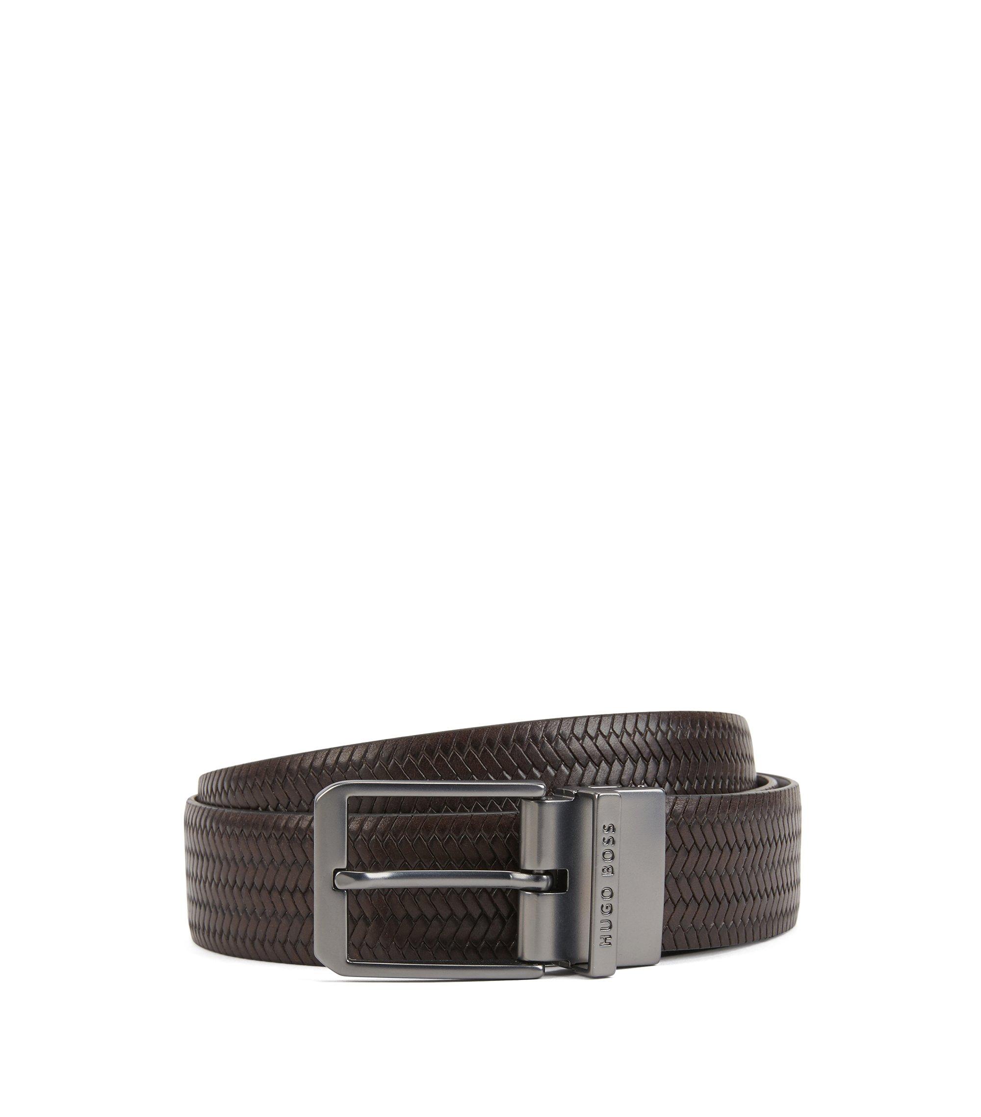 Reversible leather belt with matte gunmetal hardware, Dark Brown