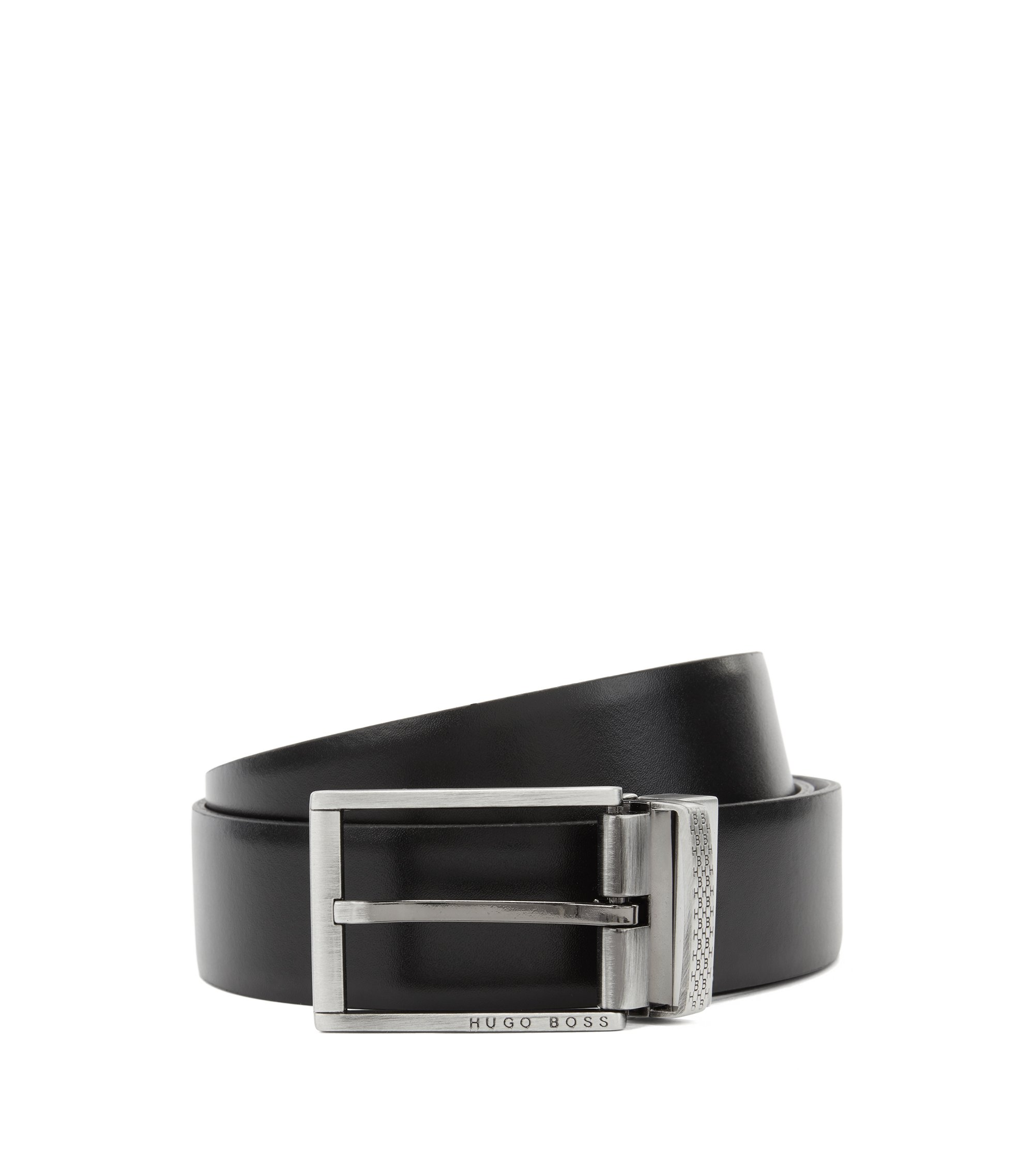 Reversible belt in leather with embossed double buckle option, Black