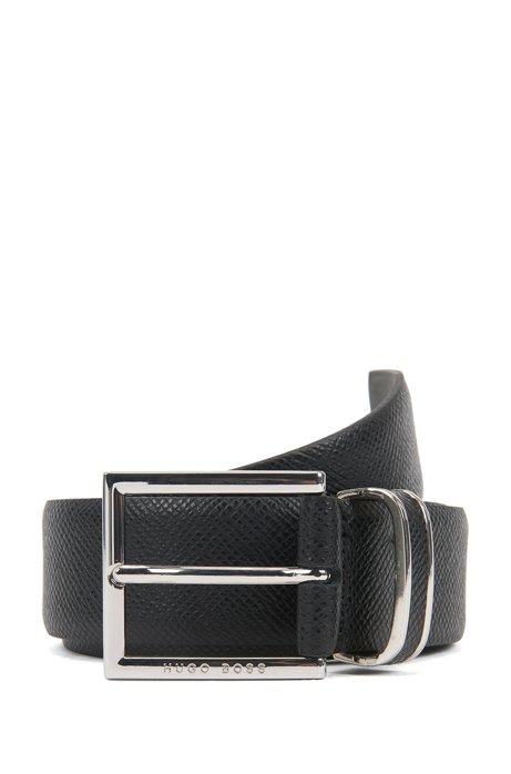 Cintura della collezione Signature in pelle di vitello goffrata, Nero