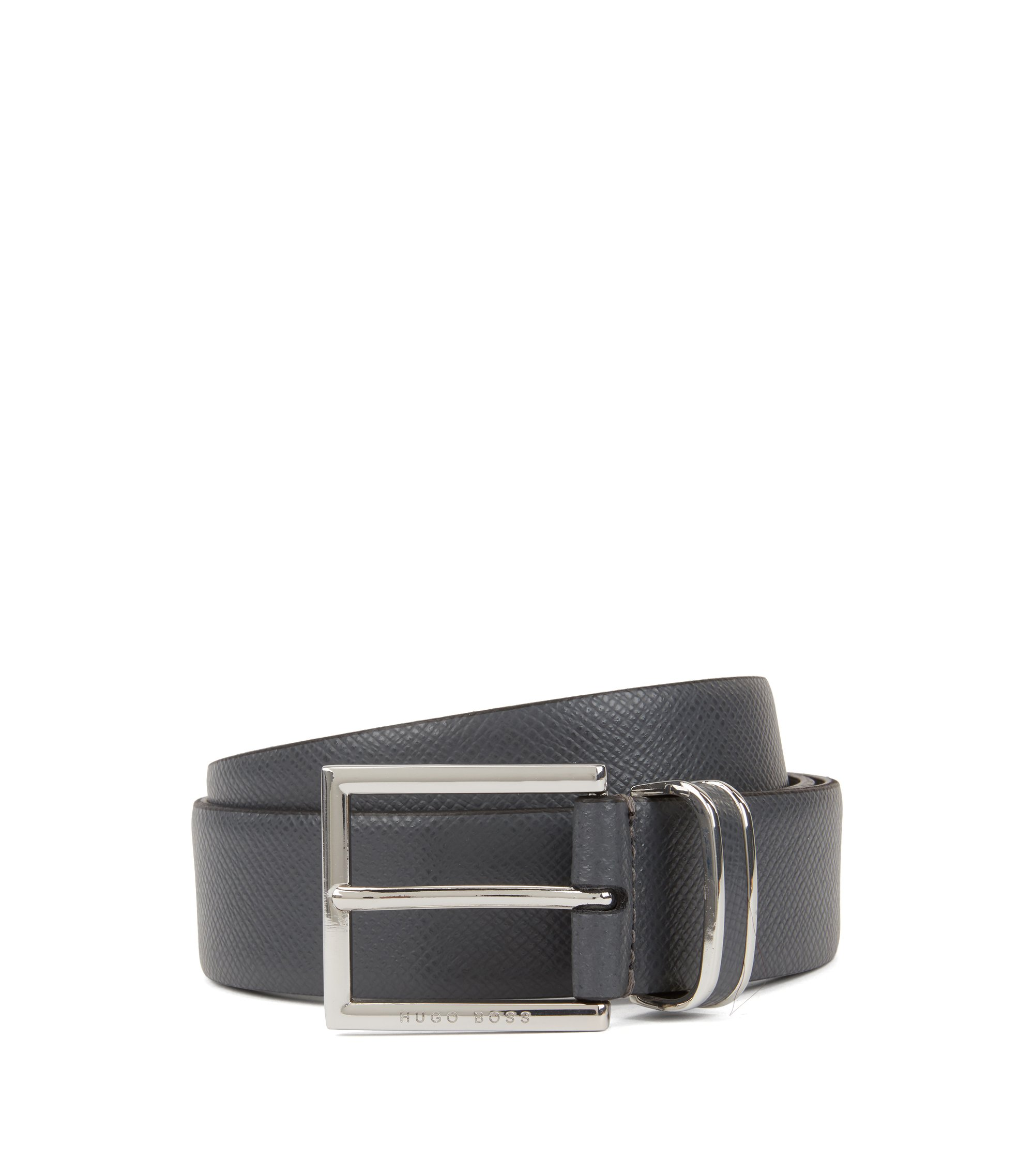 Signature Collection belt in embossed calf leather, Dark Grey