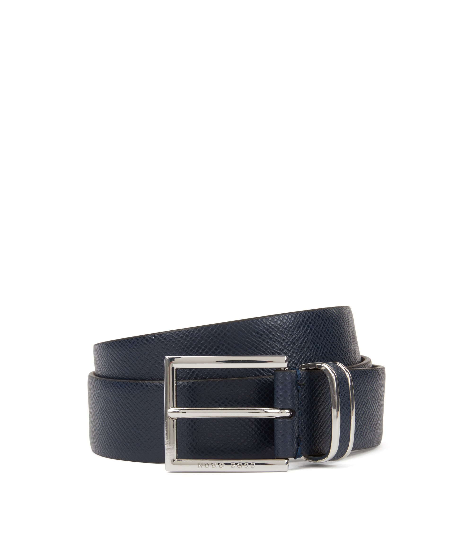 Signature Collection belt in embossed calf leather, Dark Blue