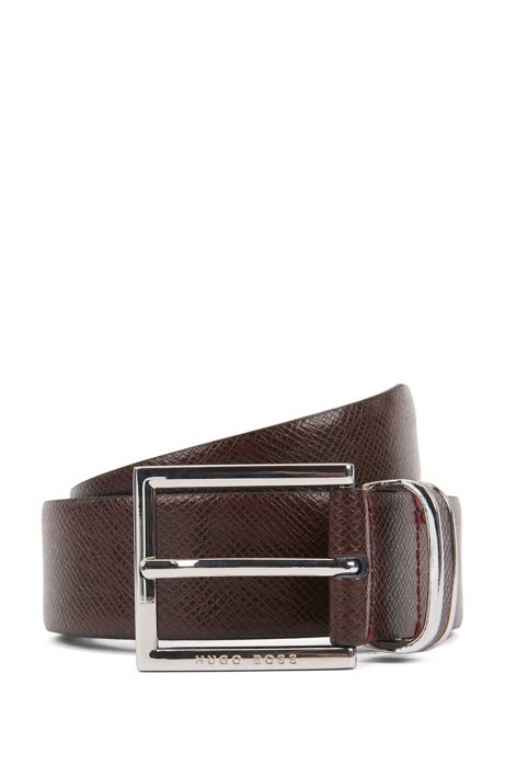 Signature Collection belt in embossed calf leather, Dark Red