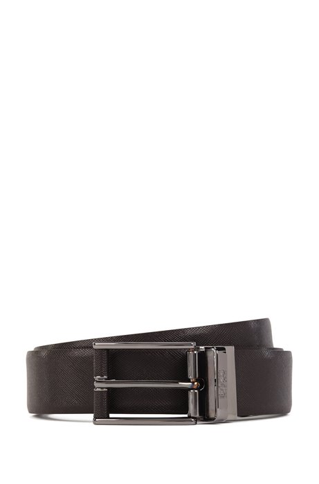 Reversible leather belt with leather-covered buckle, Dark Brown