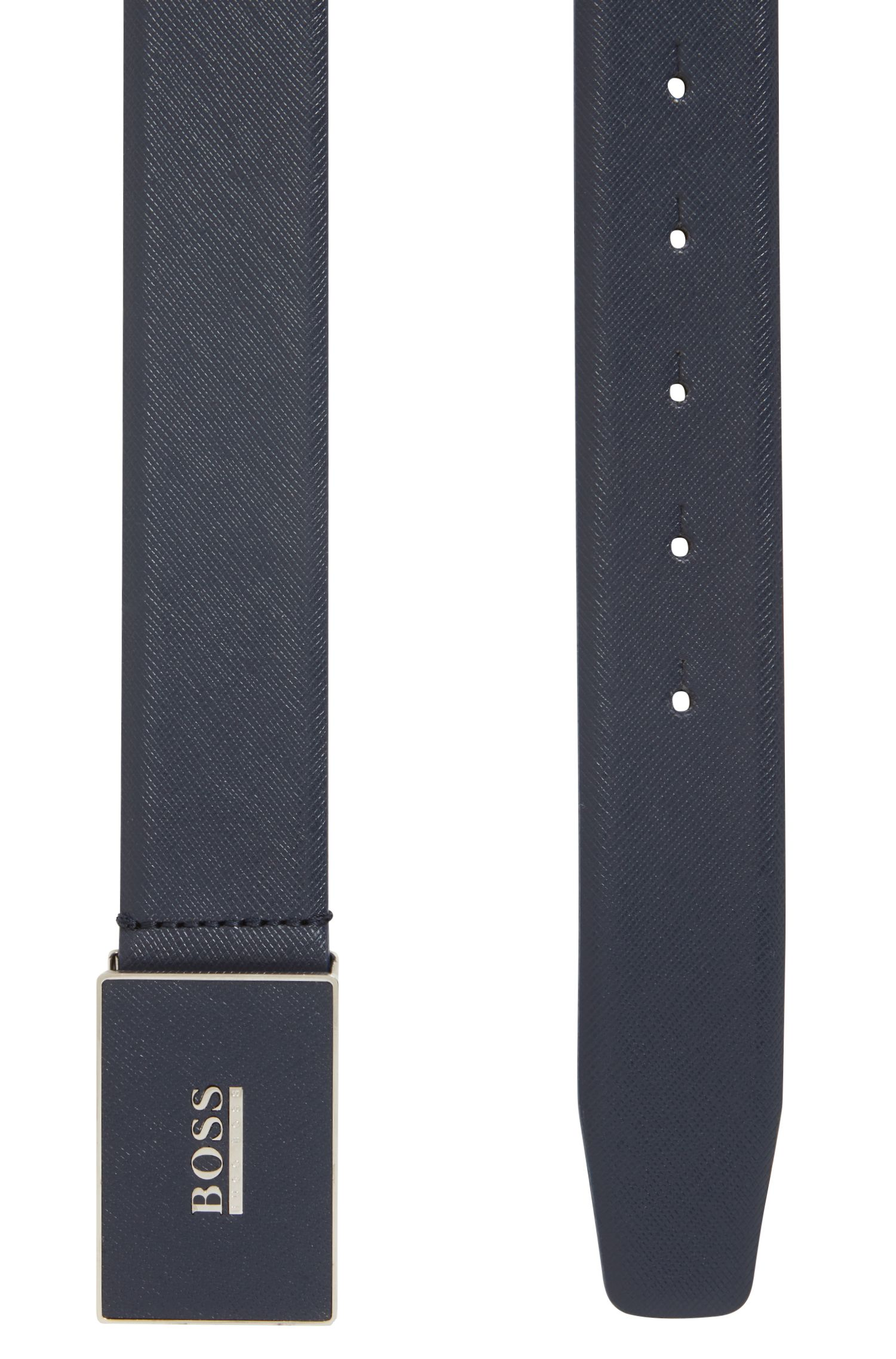 Palmellato-embossed leather belt with leather plaque buckle, Dark Blue