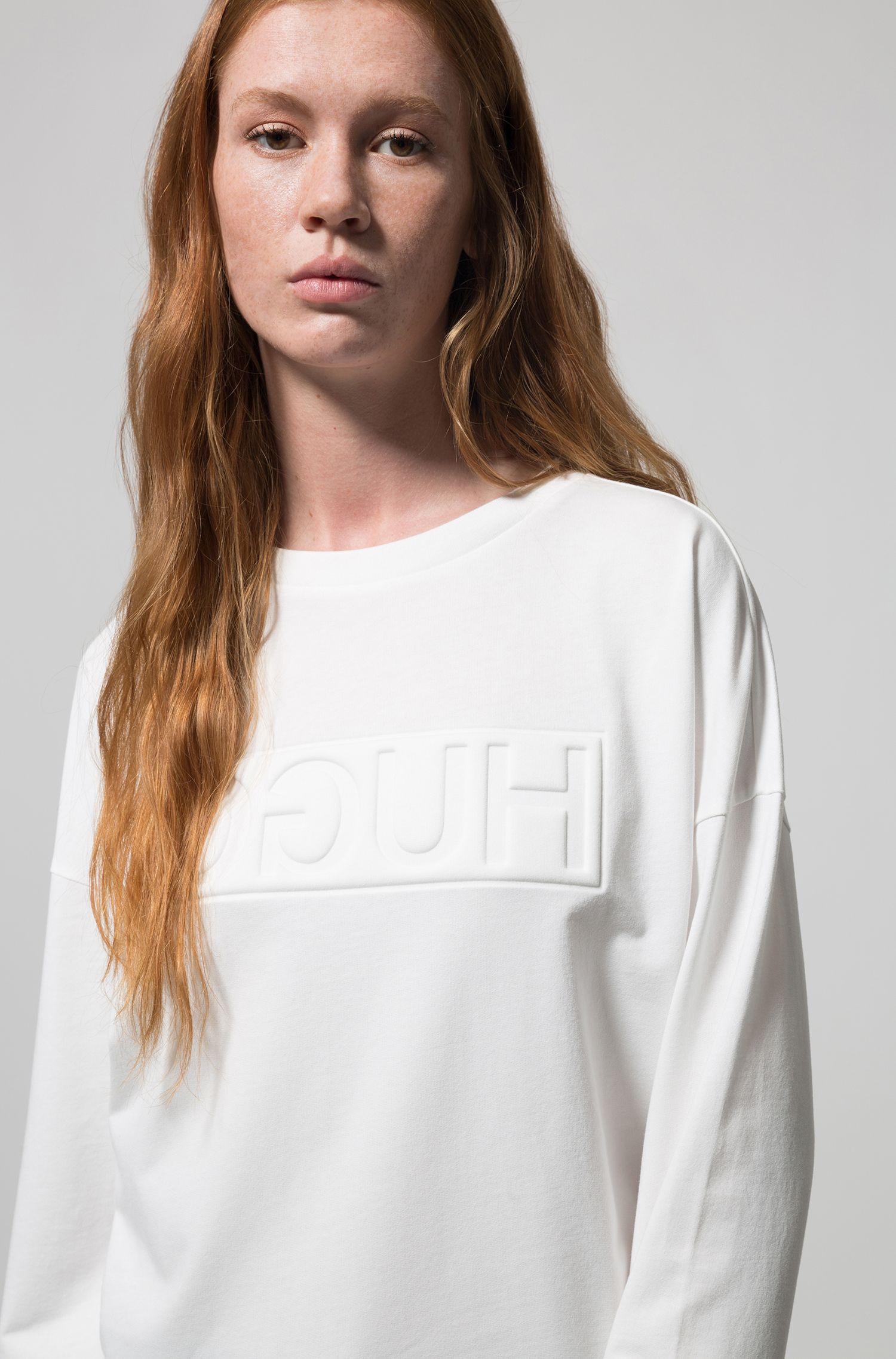 Reversed-logo sweatshirt in French terry, Natural