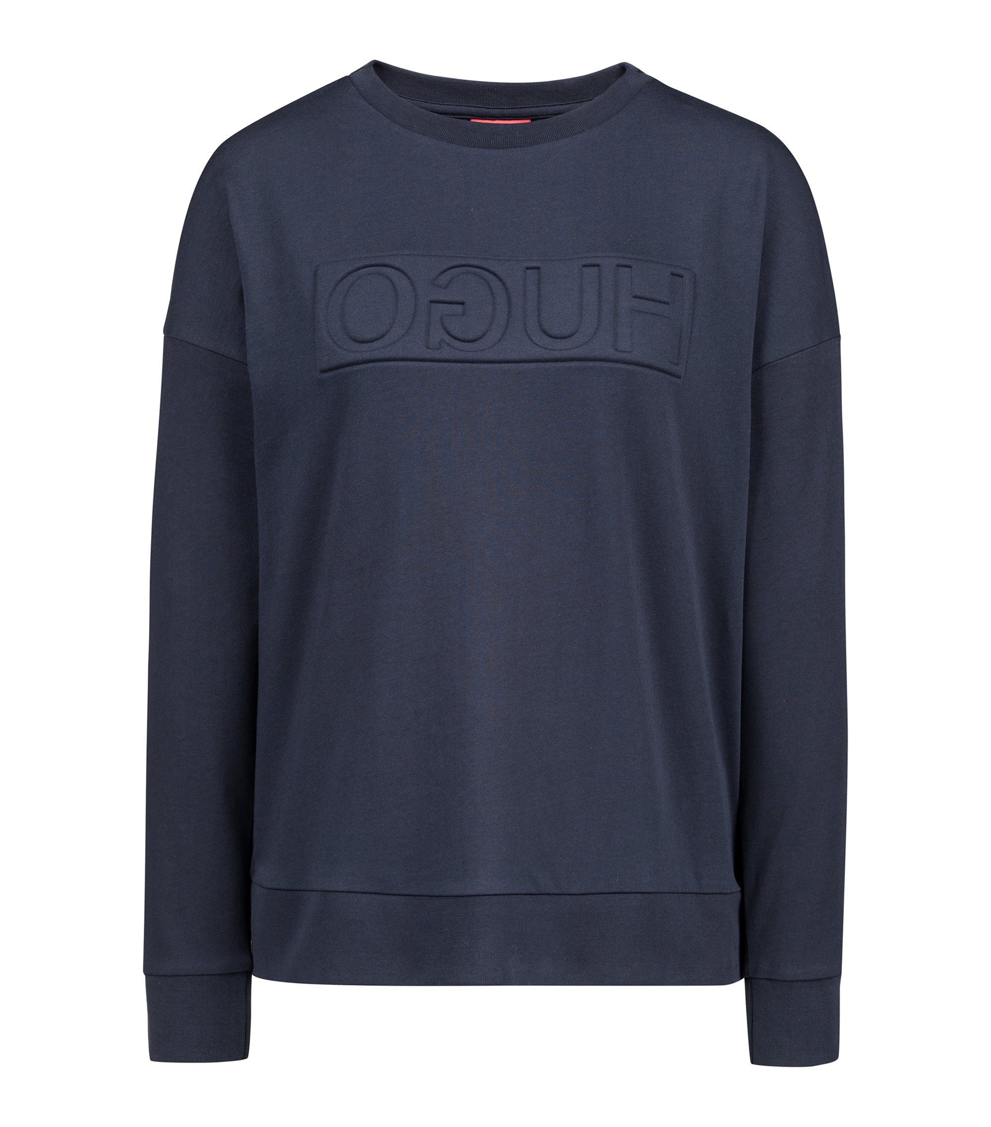 Sweat en molleton French Terry à logo inversé, Bleu foncé