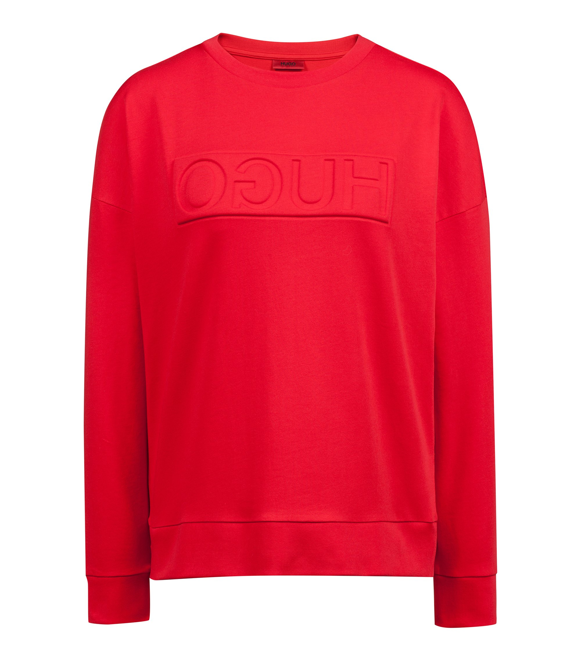 Sweat en molleton French Terry à logo inversé, Rouge