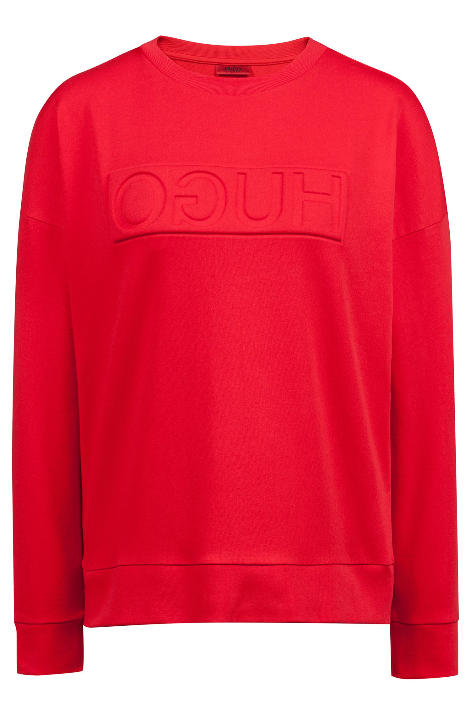 Reversed-logo sweatshirt in French terry, Red