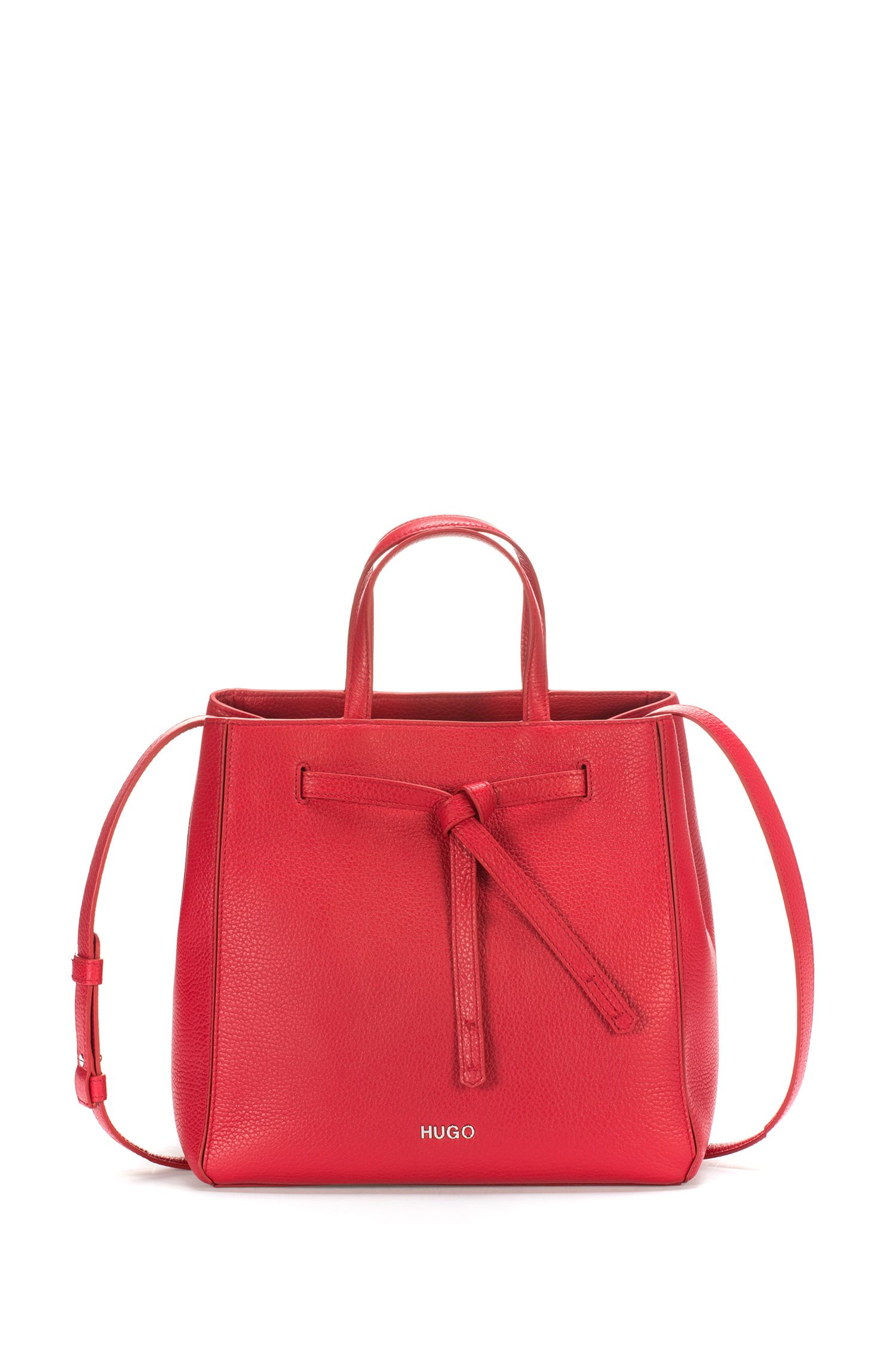Drawstring bucket bag in tumbled Italian leather, Red