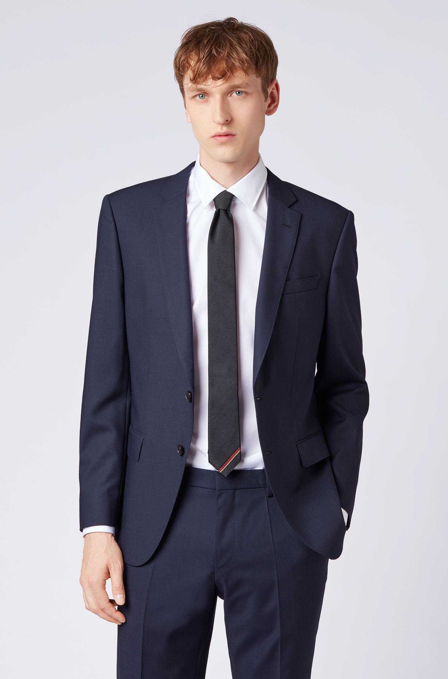 Cravate en soie ornée des couleurs du drapeau allemand, Bleu foncé