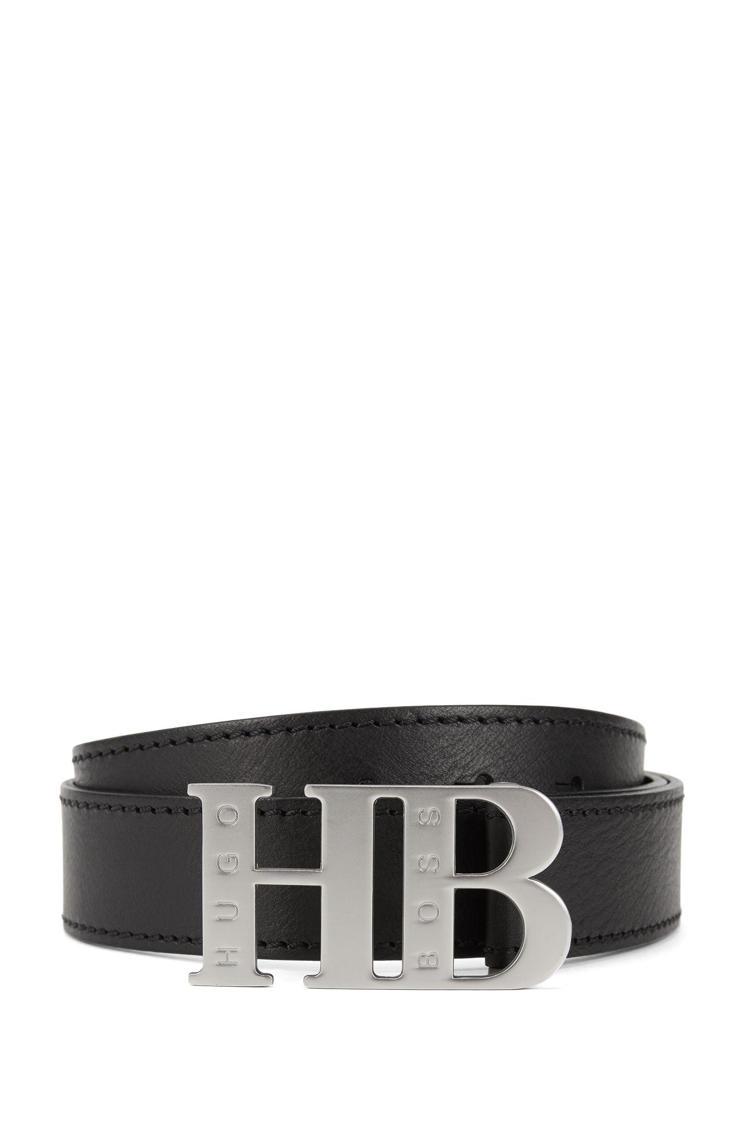 Cinturón de piel italiana con cierre de placa de la marca, Negro