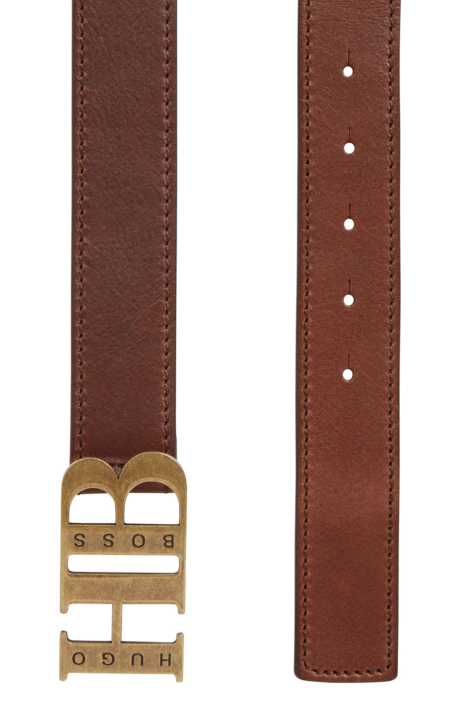 Italian-leather belt with branded plaque fastening, Dark Brown