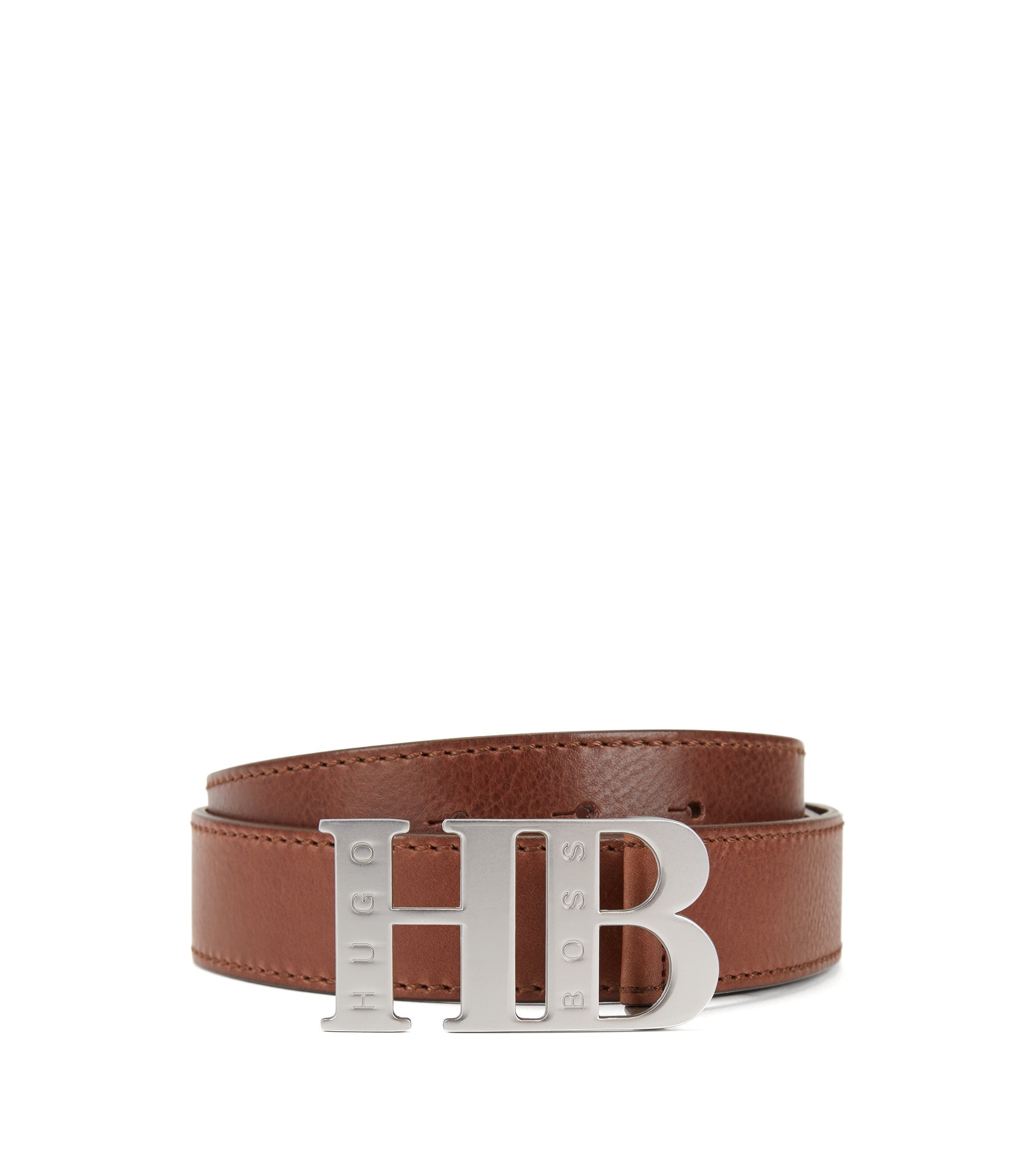 Italian-leather belt with branded plaque fastening, Brown