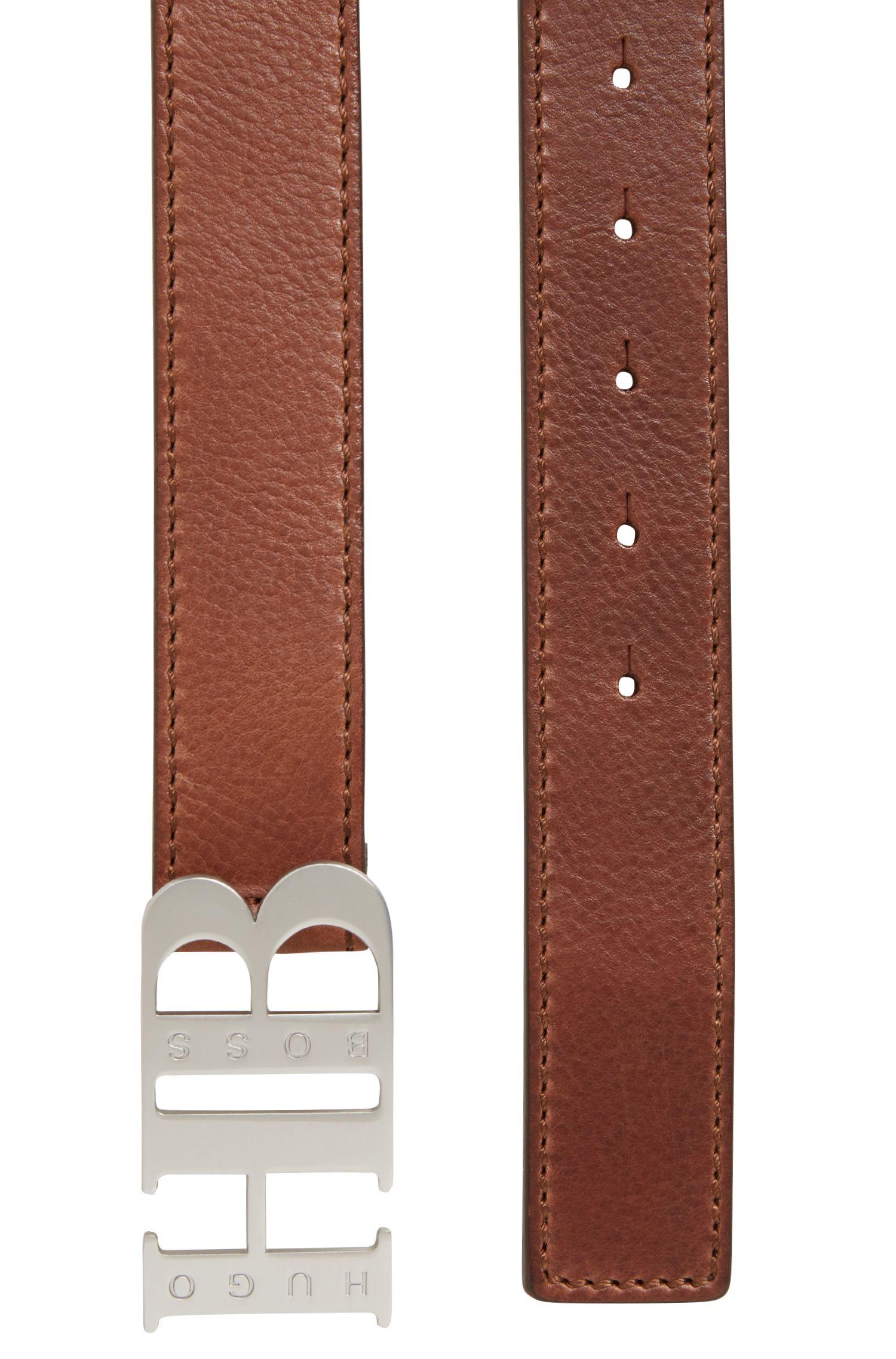 Cinturón de piel italiana con cierre de placa de la marca, Marrón