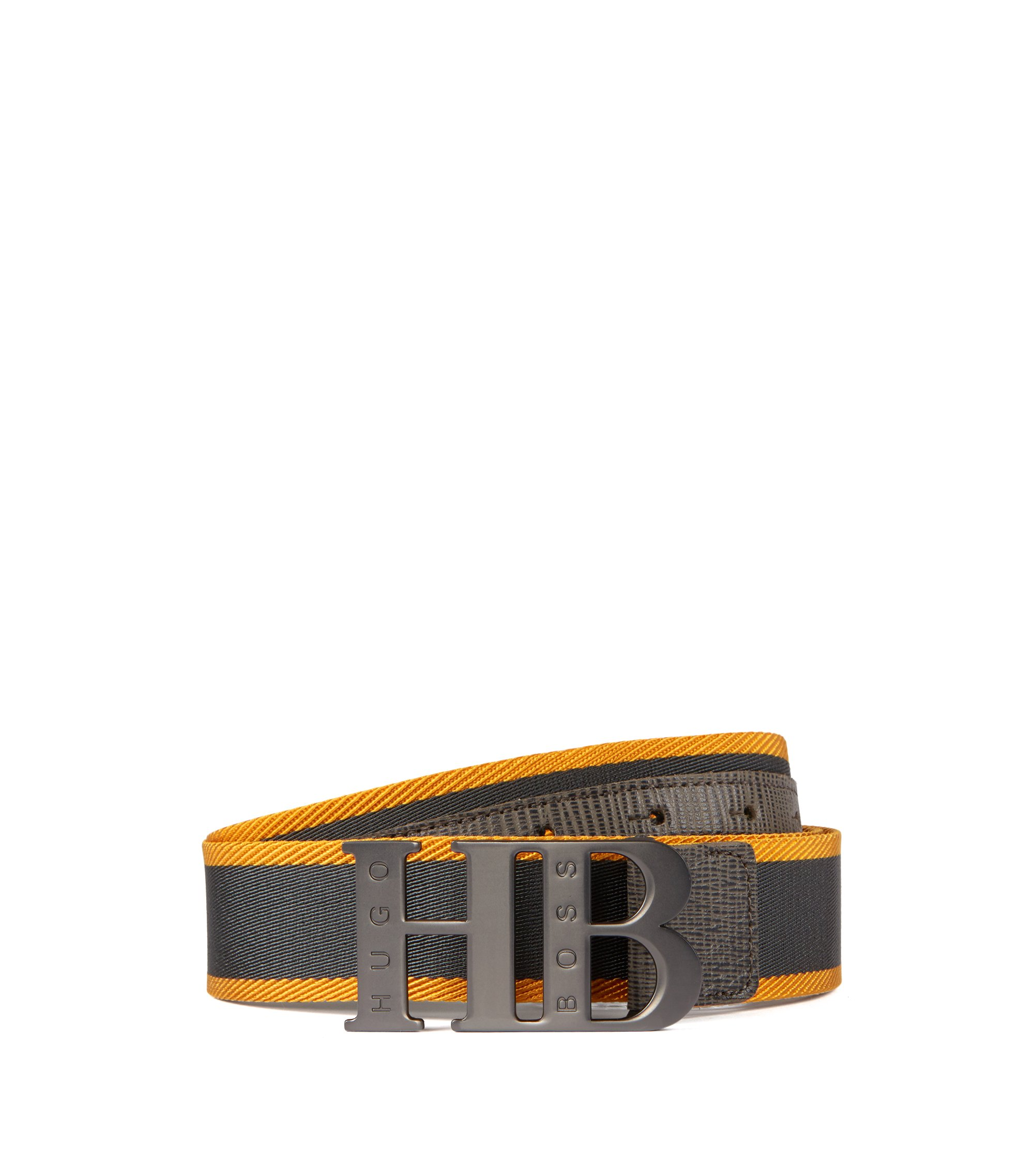 Woven belt with leather trim and branded plaque, Dark GreyDark Grey