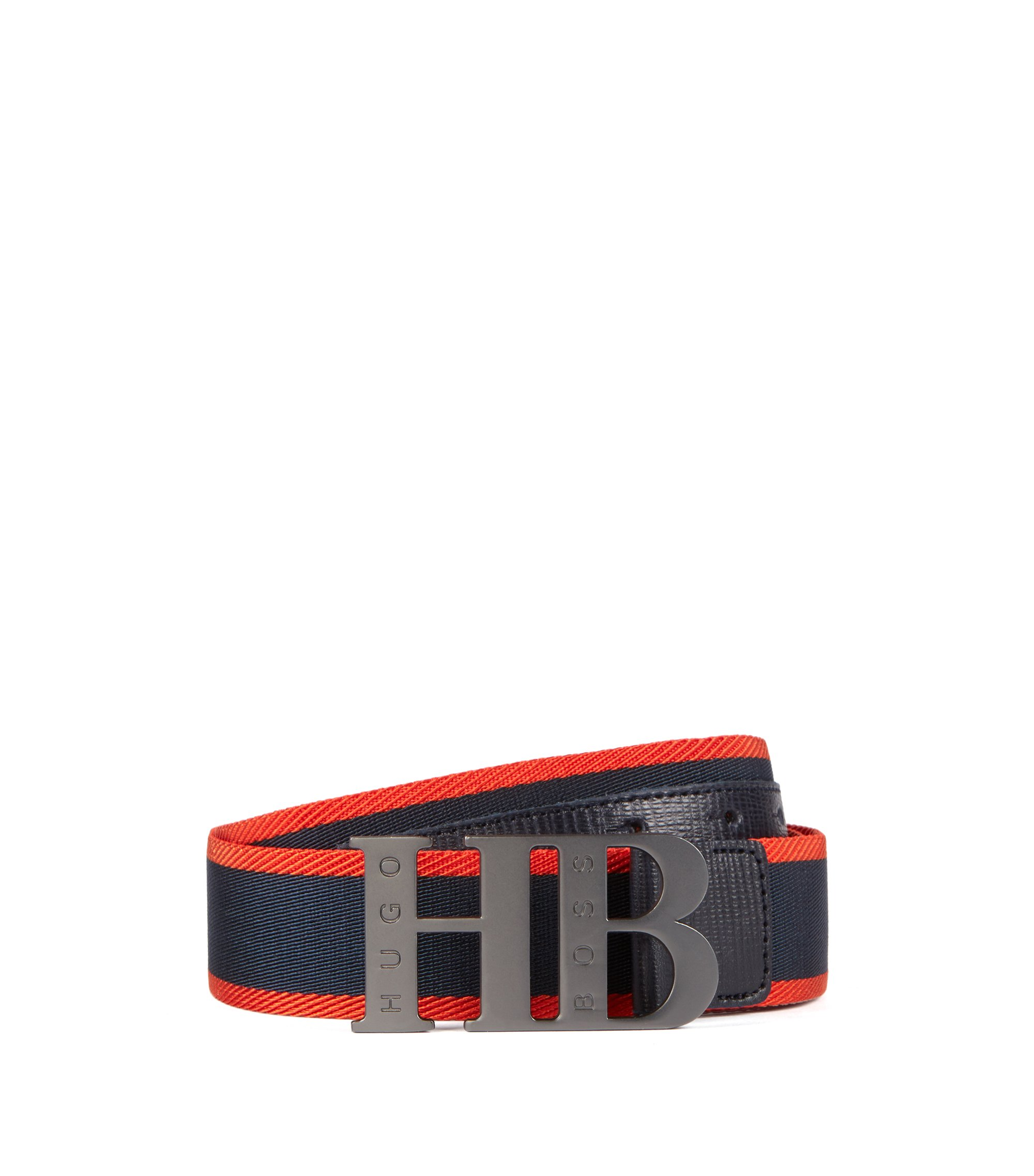 Woven belt with leather trim and branded plaque, Dark Blue